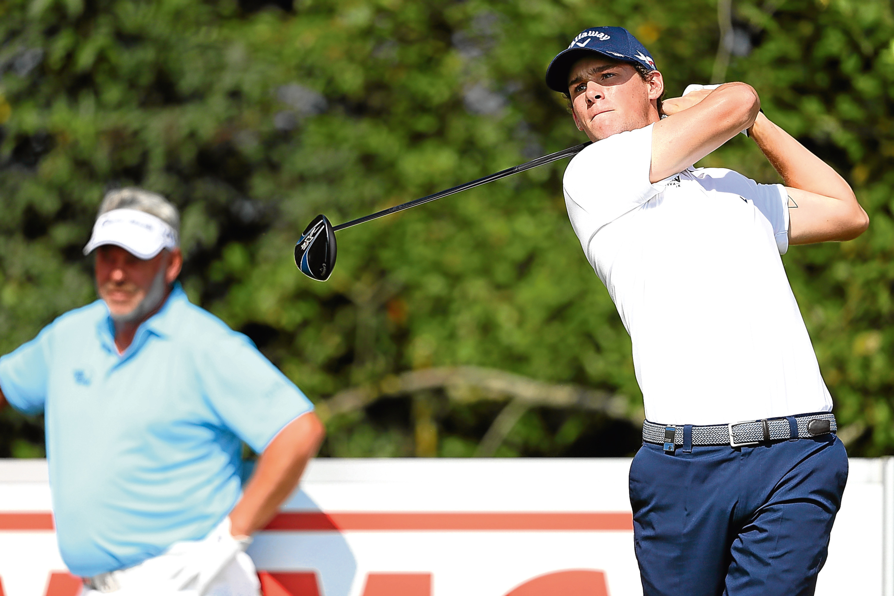 Thomas Pieters was watched at close range by European ryder Cup captain Darren Clarke in Denmark.