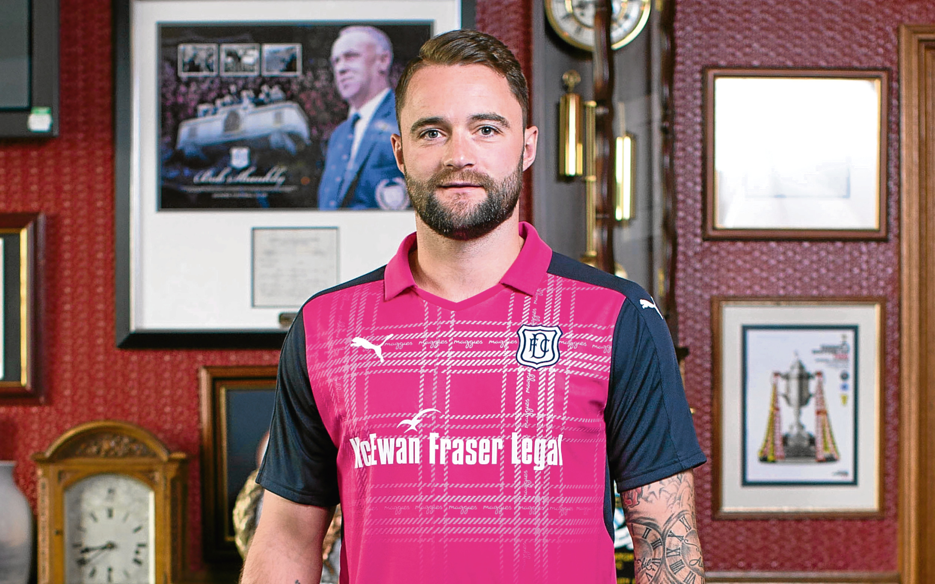 James McPake in the new charity shirt.