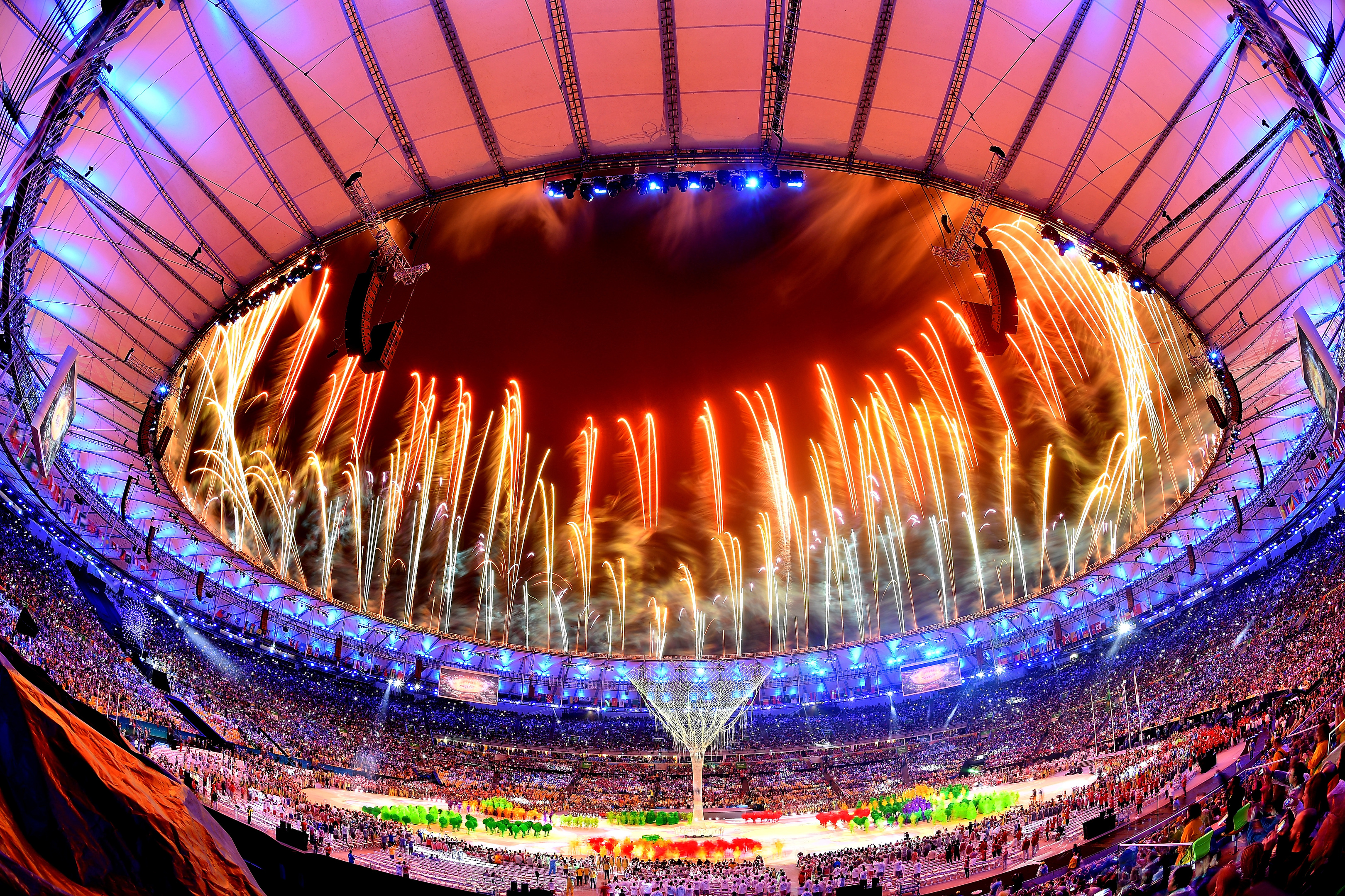 Fireworks explode above the Maracana Stadium at the end of the closing ceremony of the Rio 2016 Olympic games.