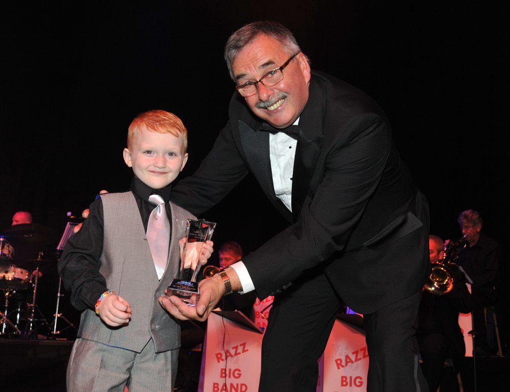 Kian Rafferty with Bob Garmory at last yearsd awards. Kian benefited from the work of Benarty Gala