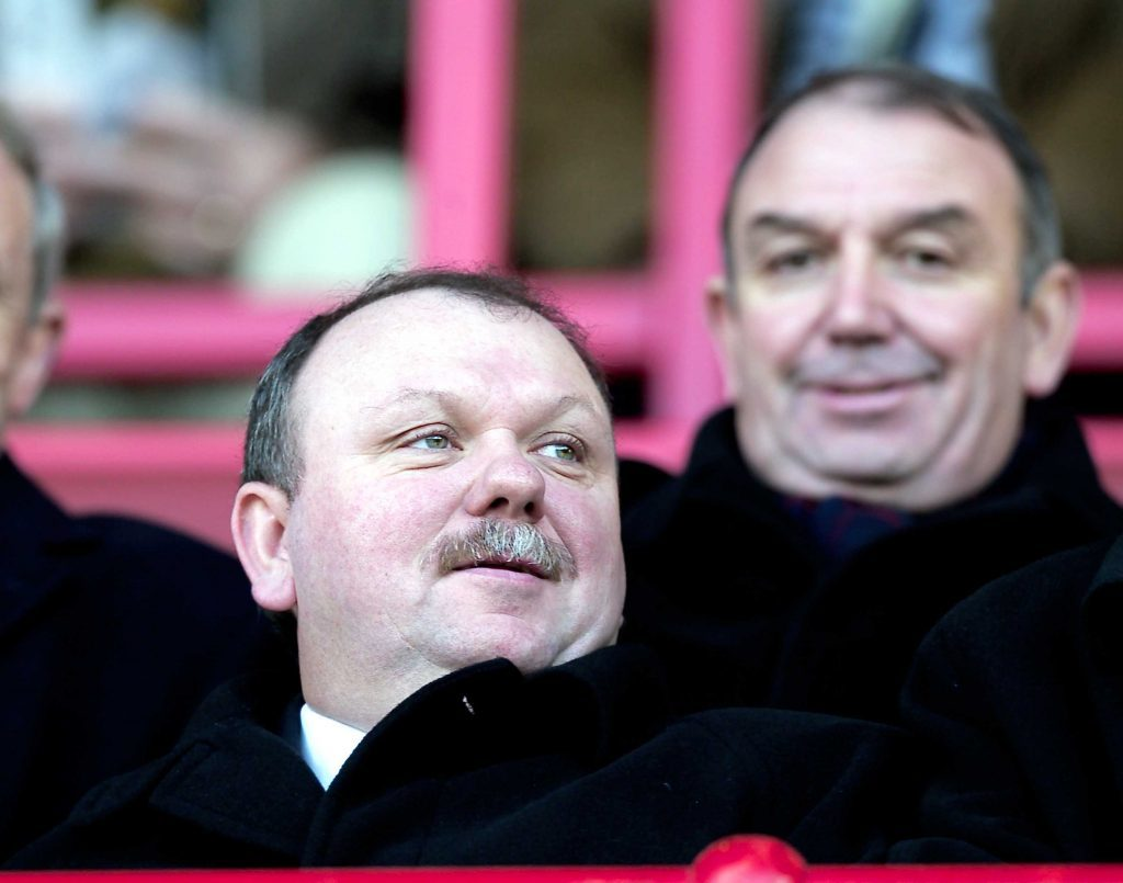 Jimmy (front) and Peter Marr during their ownership of Dundee FC.