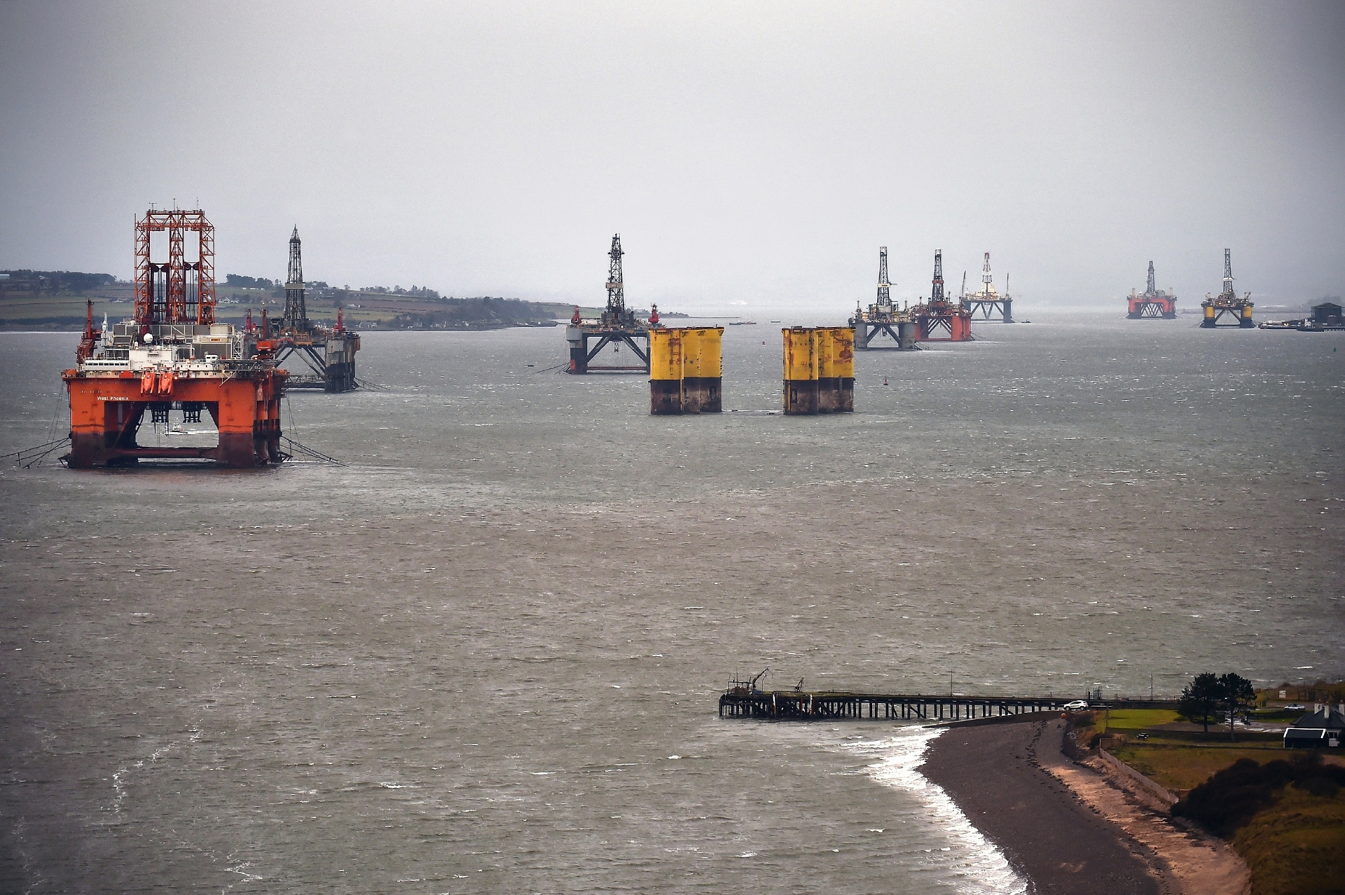 Oil platforms stacked up in the Cromarty Firth.