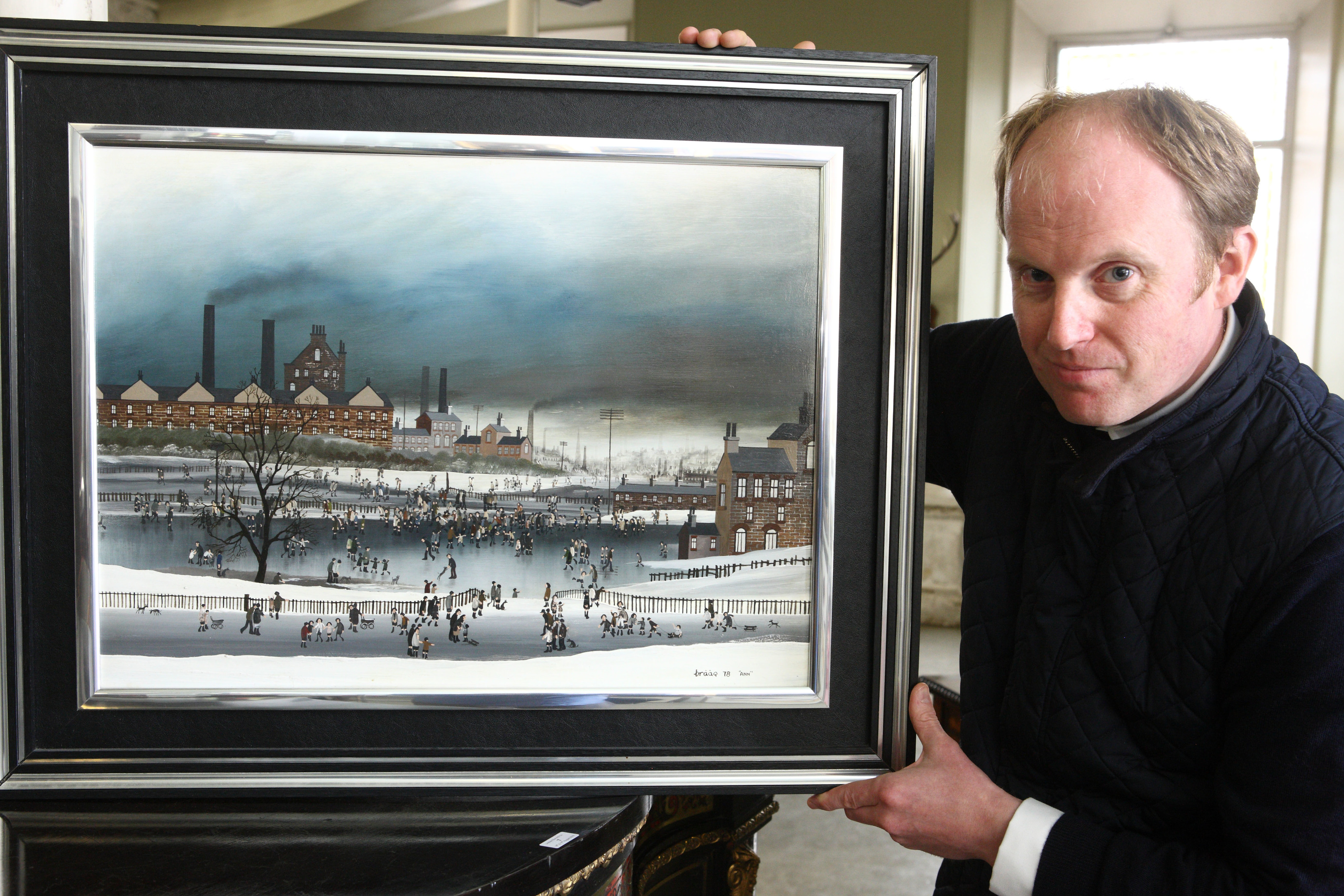 Nick Burns with a painting by Brian Sheilds 'Braaq'  titled 'Gee up Ginger'.