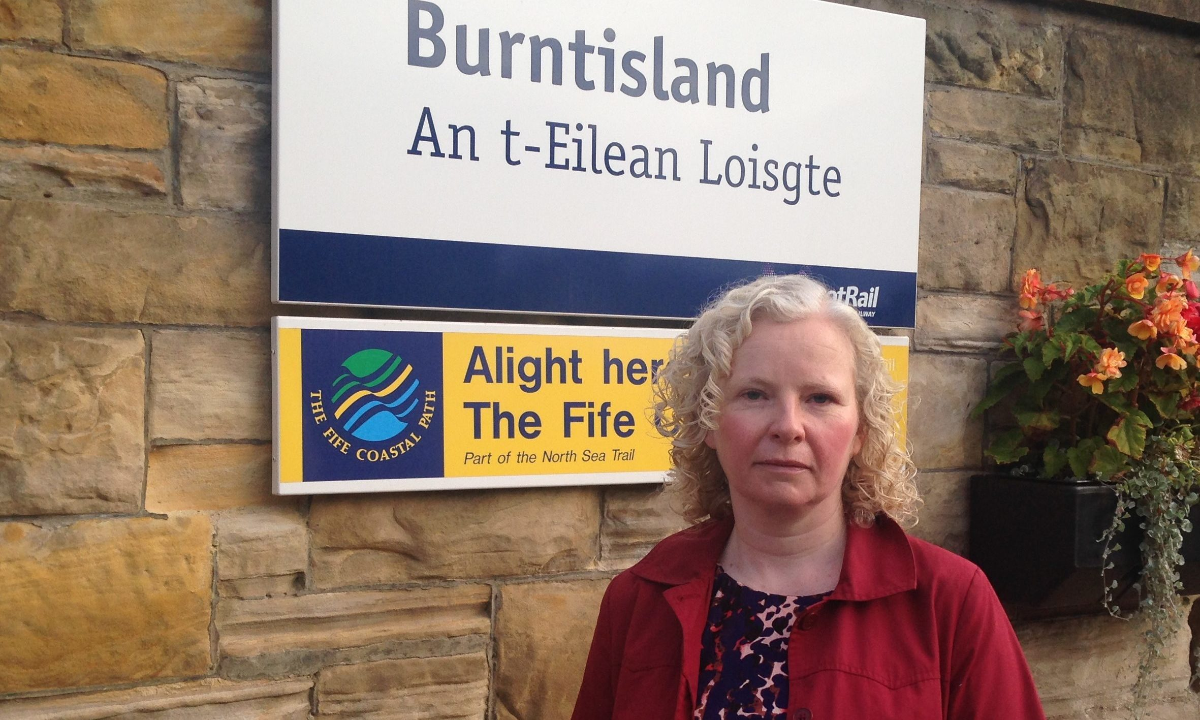 Claire Baker MSP at Burntisland train station.