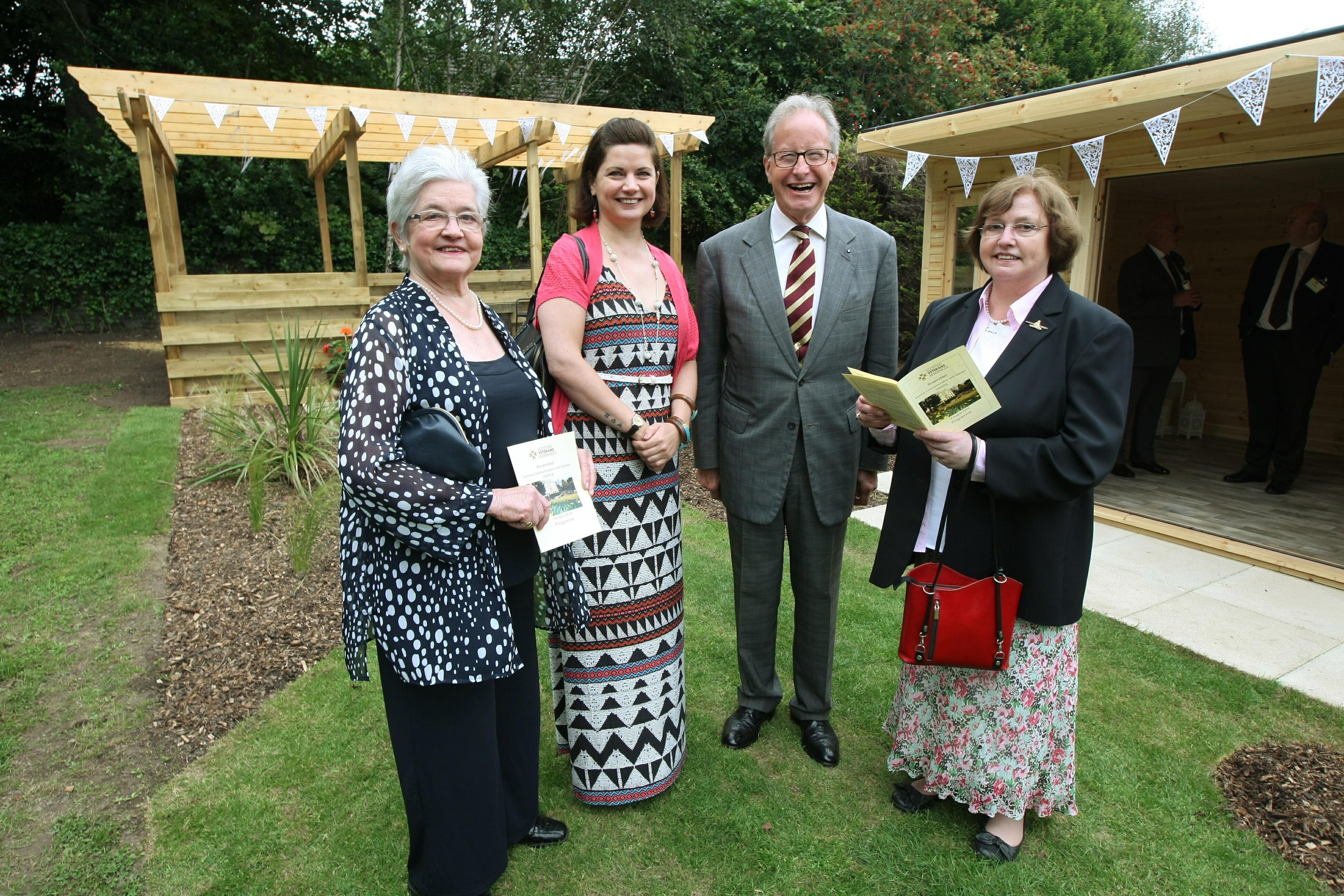 Surviving relatives of Frank Proctor Kyd, L/R, Gillian Andrew, Sarah Andrew and Jane Andrew with Major General Mark Strudwick CBE - chairman of the Scottish Veterans Residences.