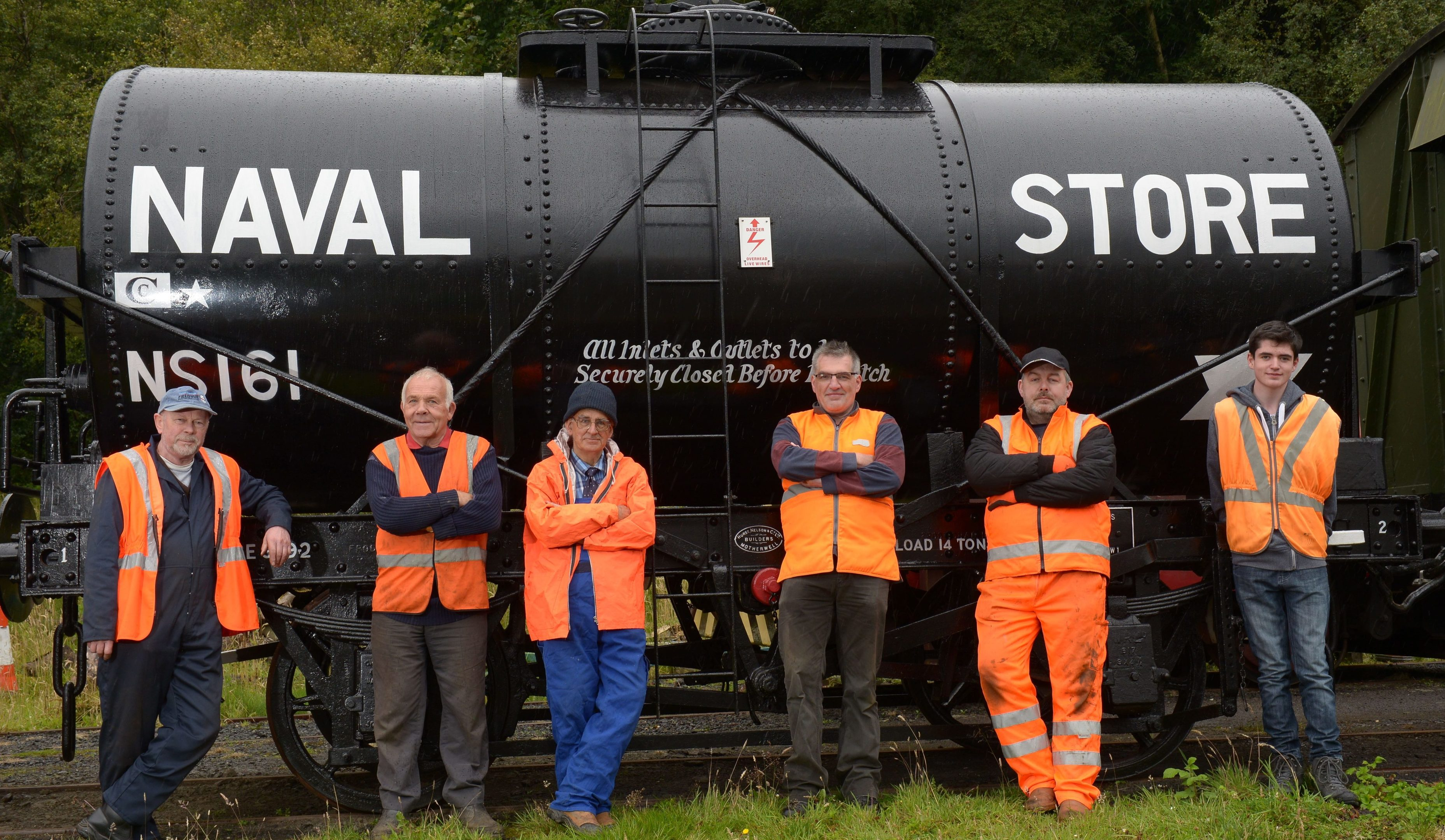 Shed 47 Restoration Group are: left to right; Norrie Briggs; Jan Littwin; Peter Westwater; Grant Robertson; Mark Bradshaw and Aiden Robertson