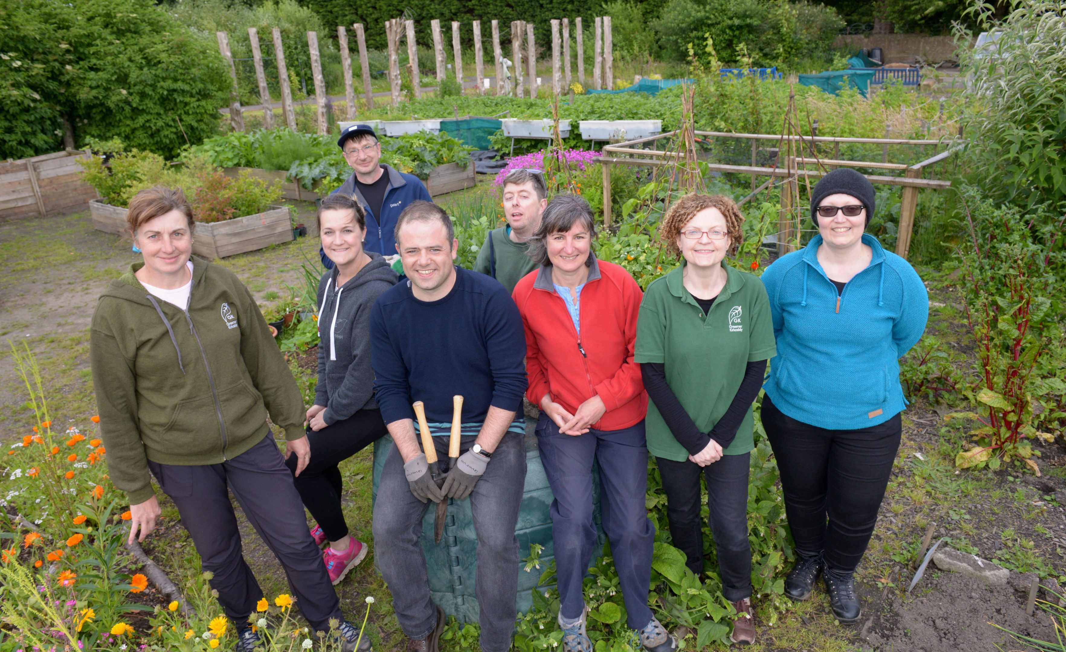 Some of the Greener Kirkcaldy gang in the Ravenscraig Walled Garden