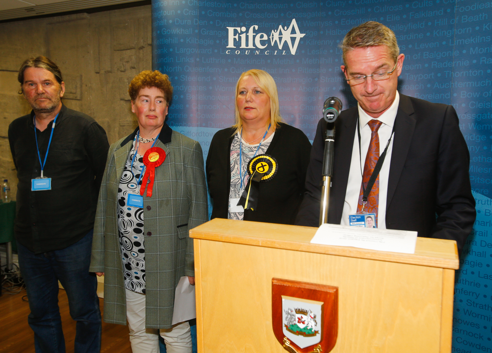 The candidates, including Labour's Mary Lockhart (second left), as the results for Thursday's The Lochs by-election are announced.