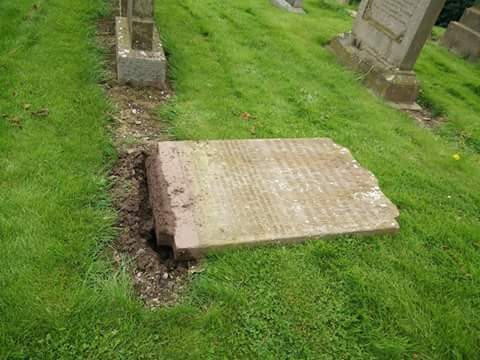 A gravestone knocked over at St Vigeans cemetery