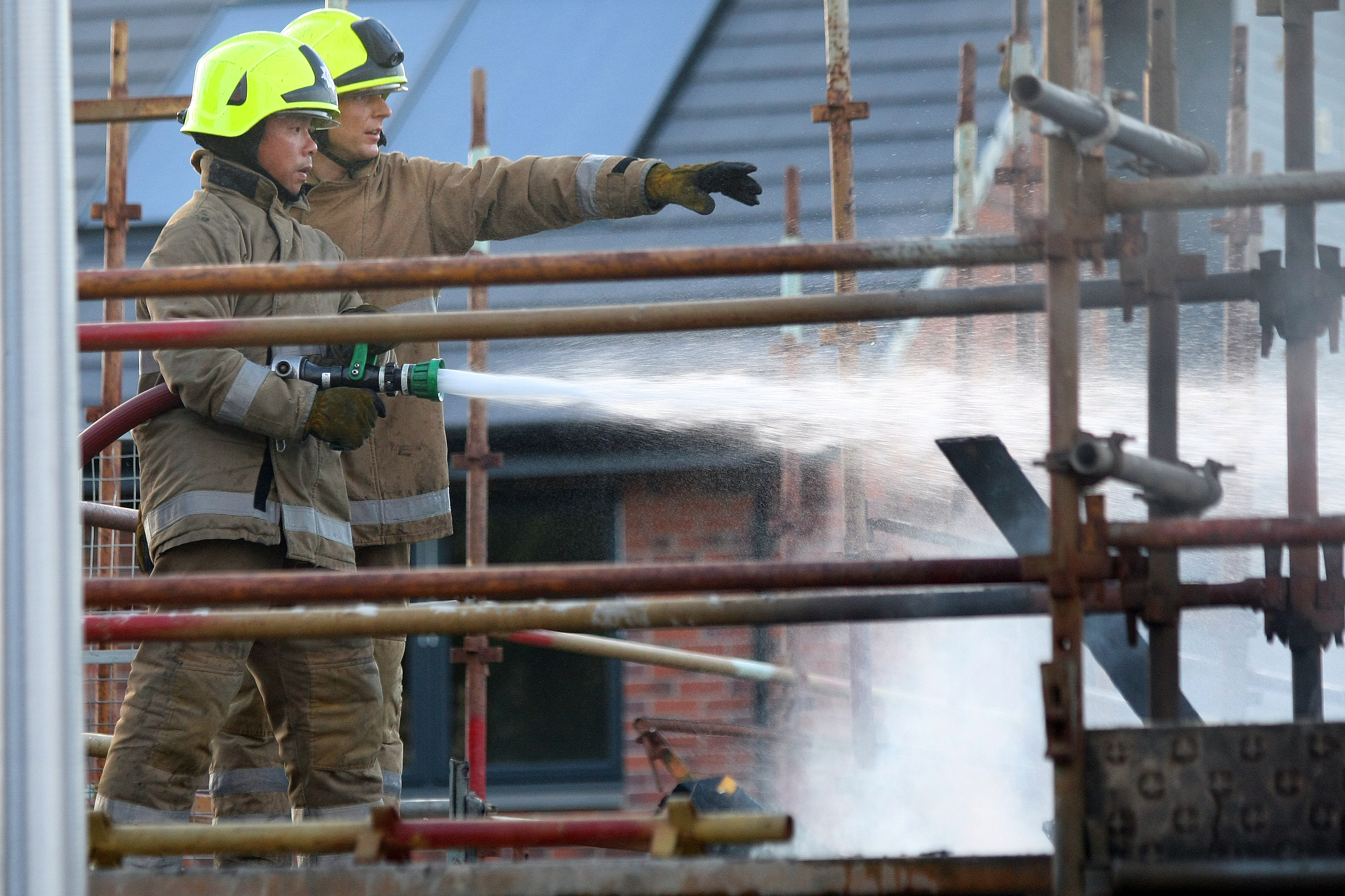 Fire crews at the scene of the blaze on Monday night.