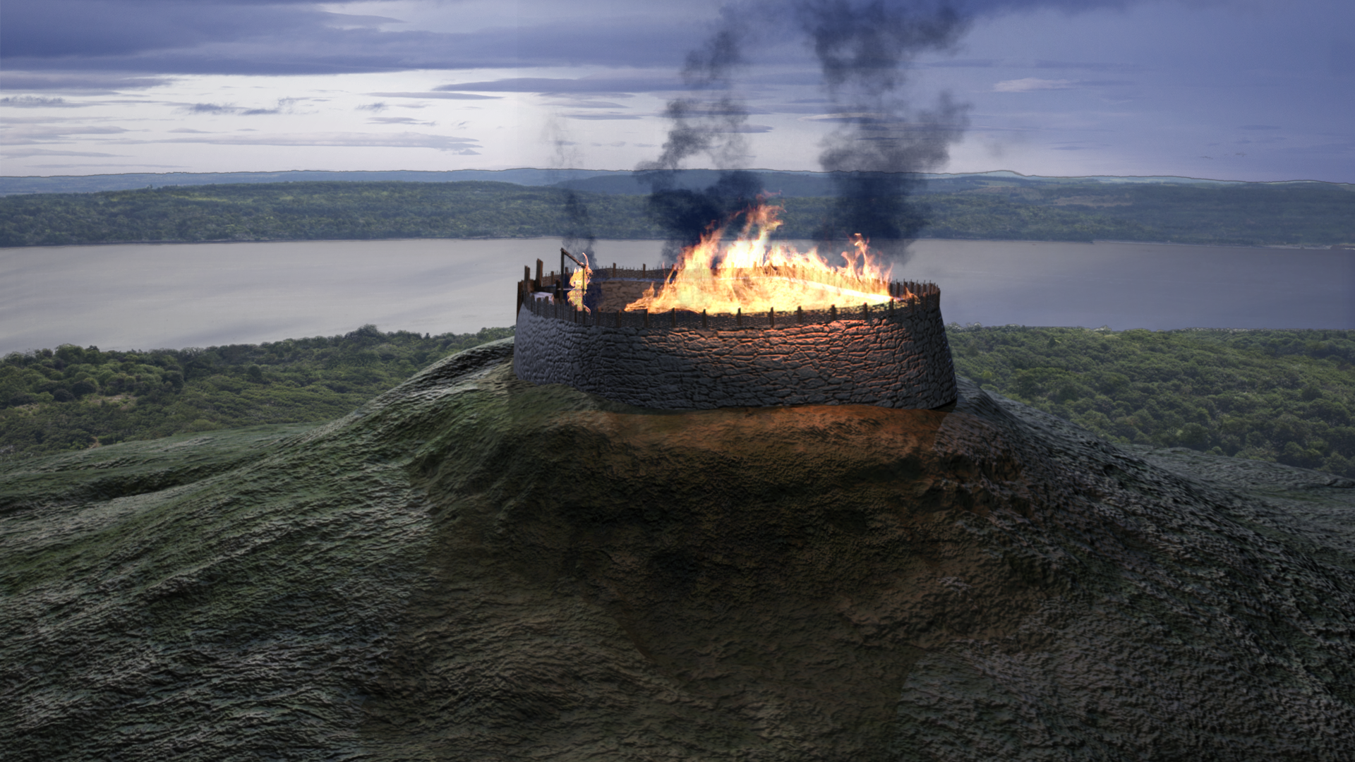 A 3D visualisation of the fire in the hillfort.