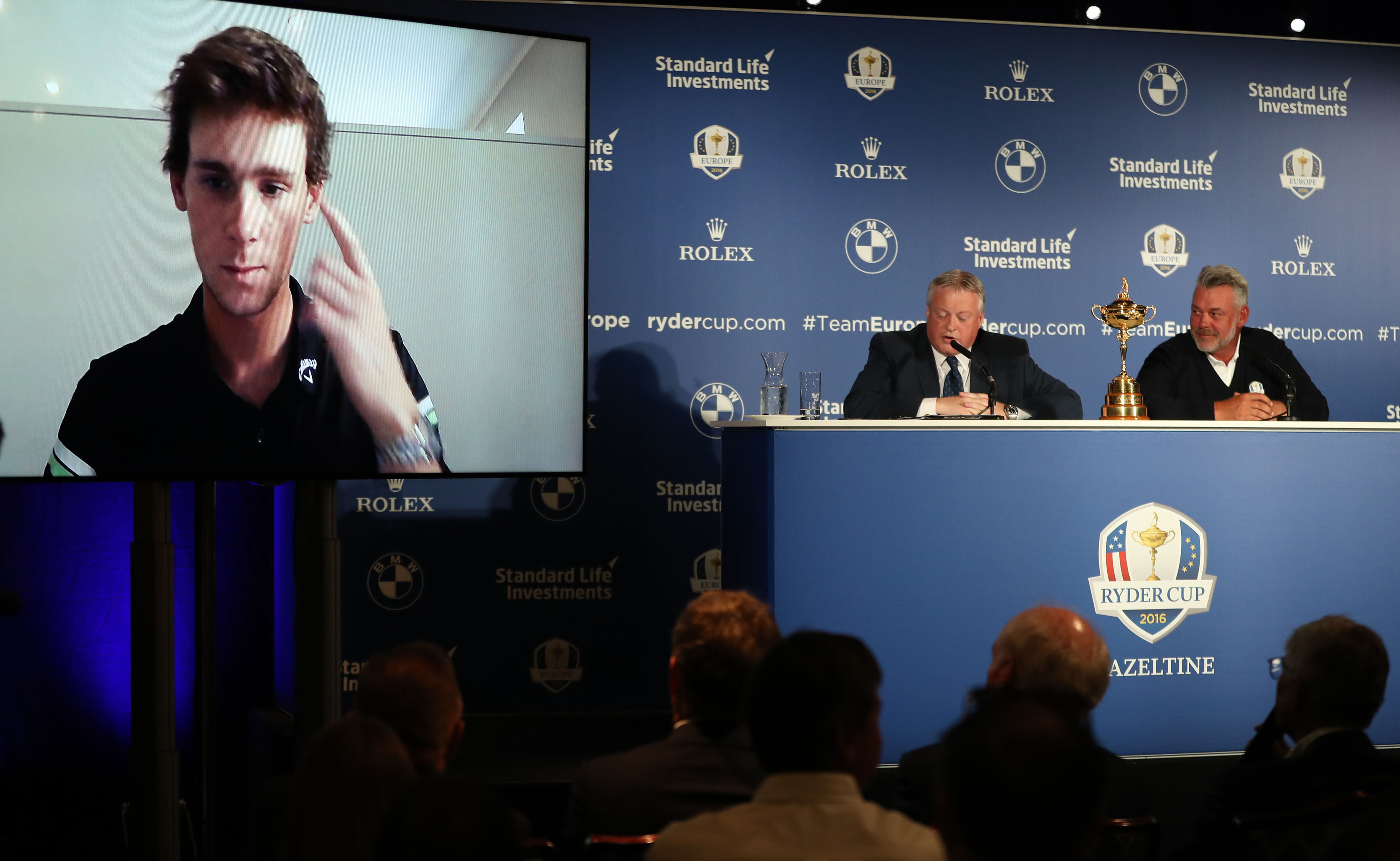 Thomas Pieters speaks by video link to the Ryder Cup wildcrad announcement with captain Darren Clarjke and the European Tour's director of communications Scott Crockett.