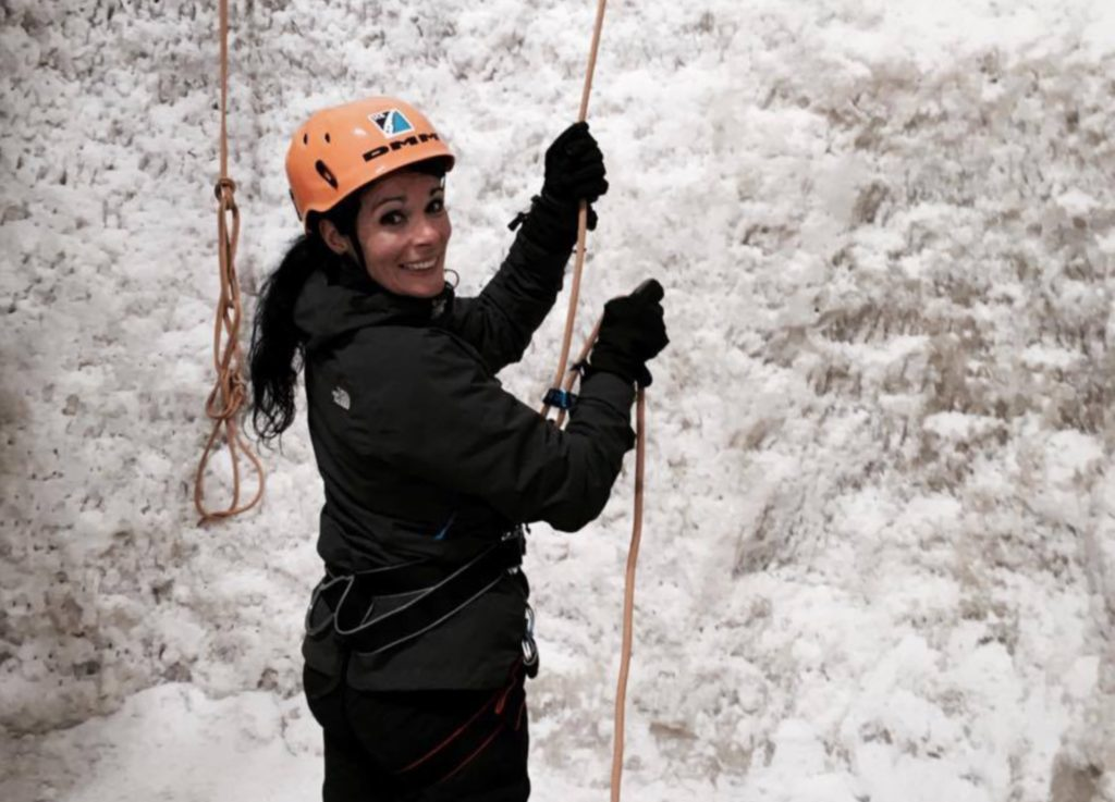 Gayle tackles the ice wall at Ice Factor, Kinlochleven.