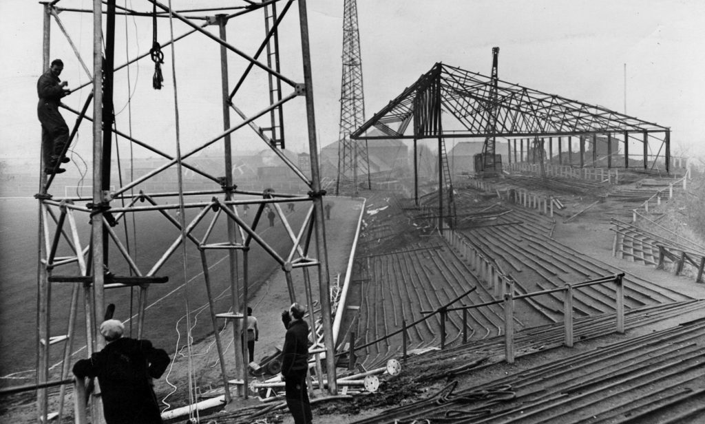 December 1959: Pylons being erected at Dens Park, 60 years after the move from Carolina Port.