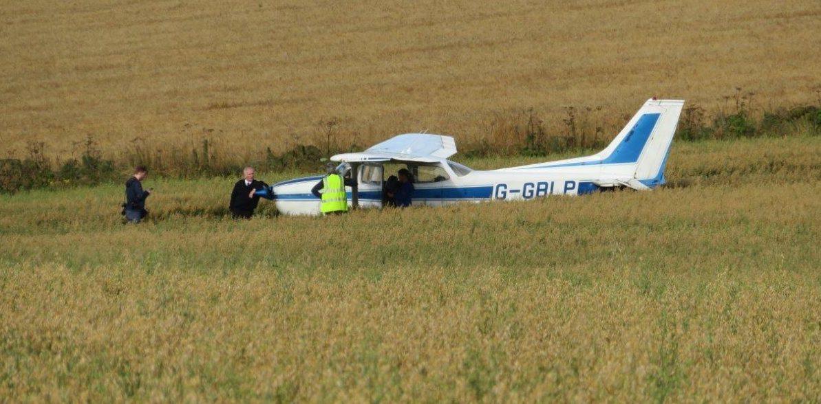 The stricken plane.