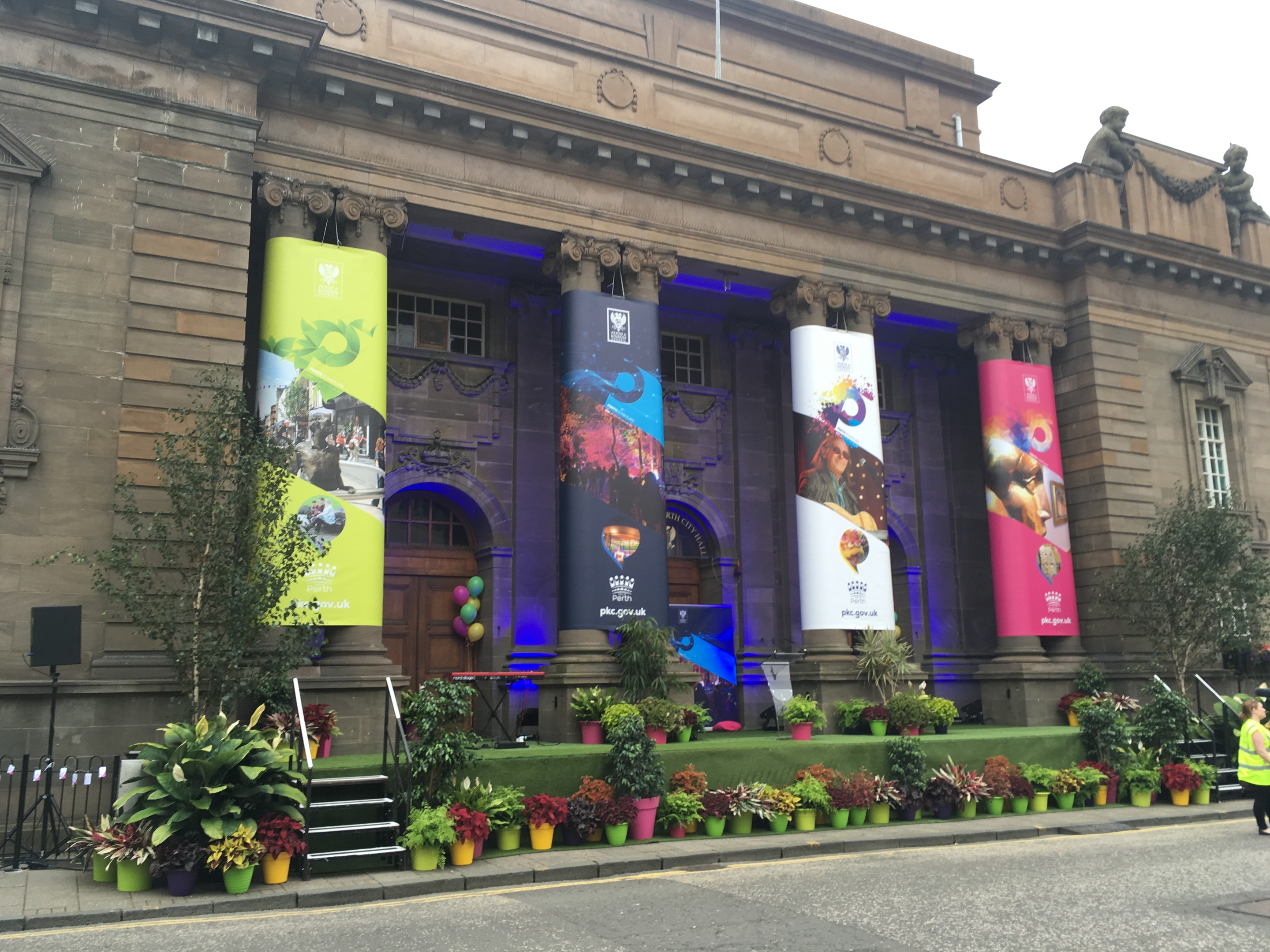 Perth City Hall, decorated for city of culture campaign.
