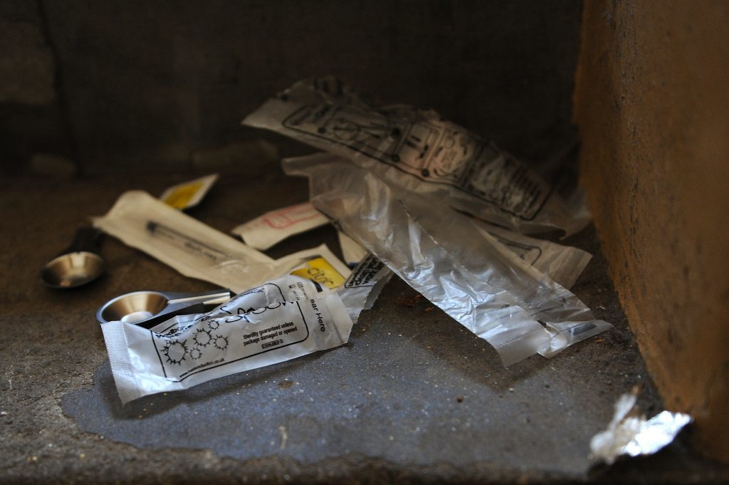 Drug equipment abandoned by a heroin addict in a Dundee stairwell