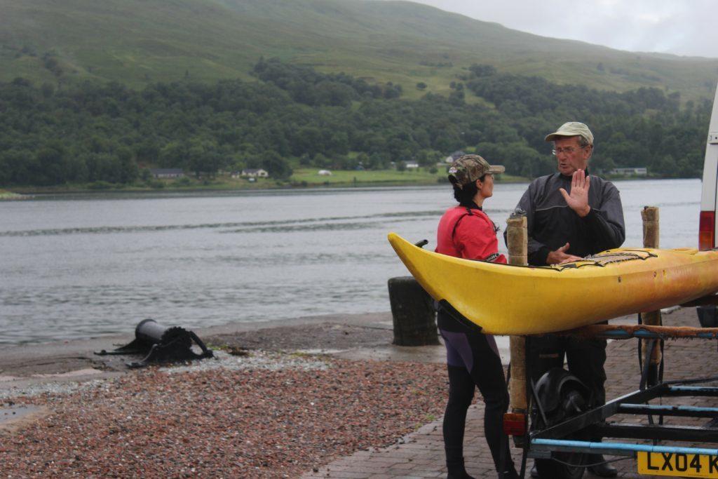 John Cuthbertson of Snowgoose Mountain Centre teaches Gayle the basics of sea kayaking.