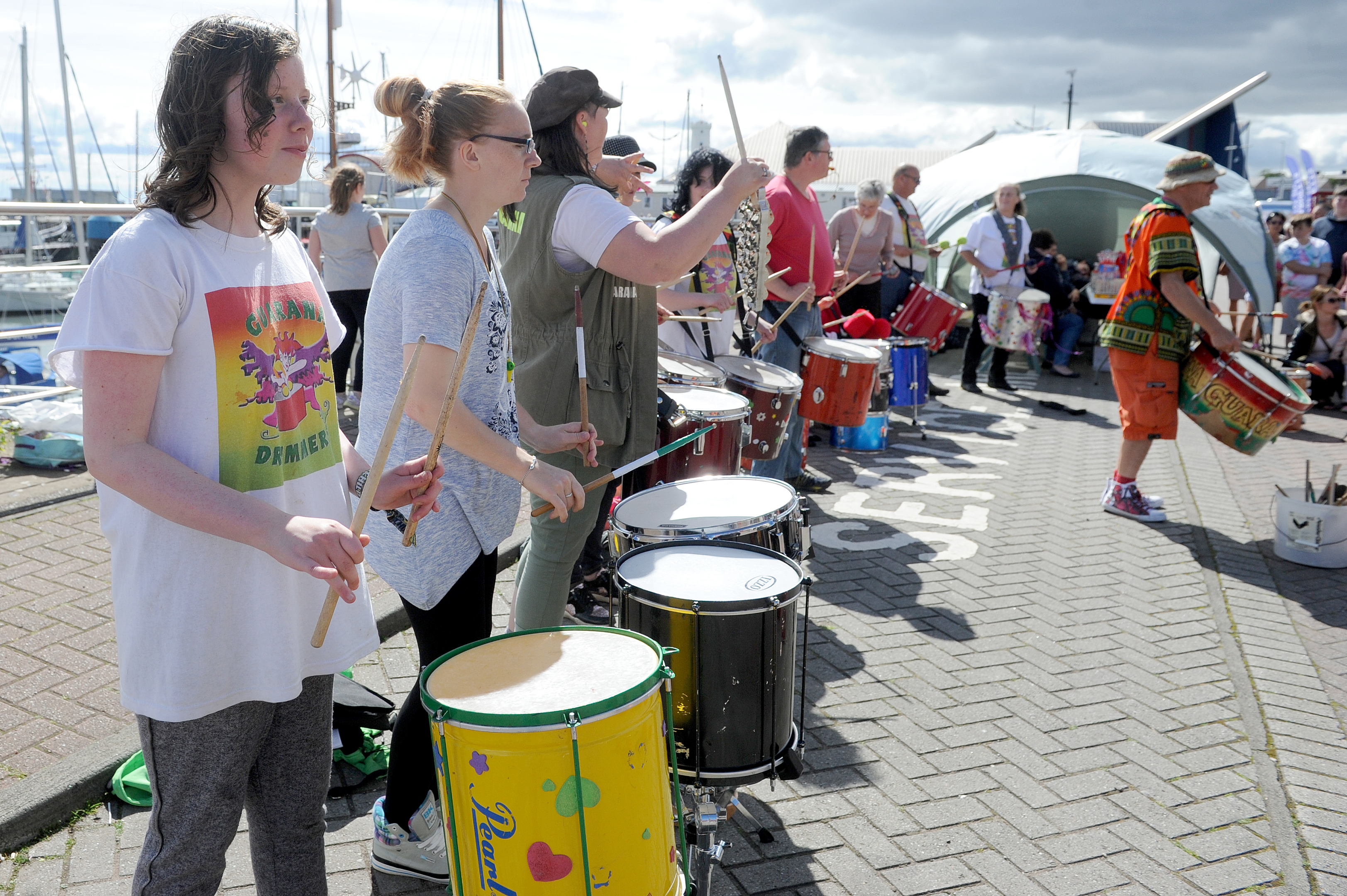 The Guarana Drummers provided some of the entertainment at Arbroath Harbour in 2016