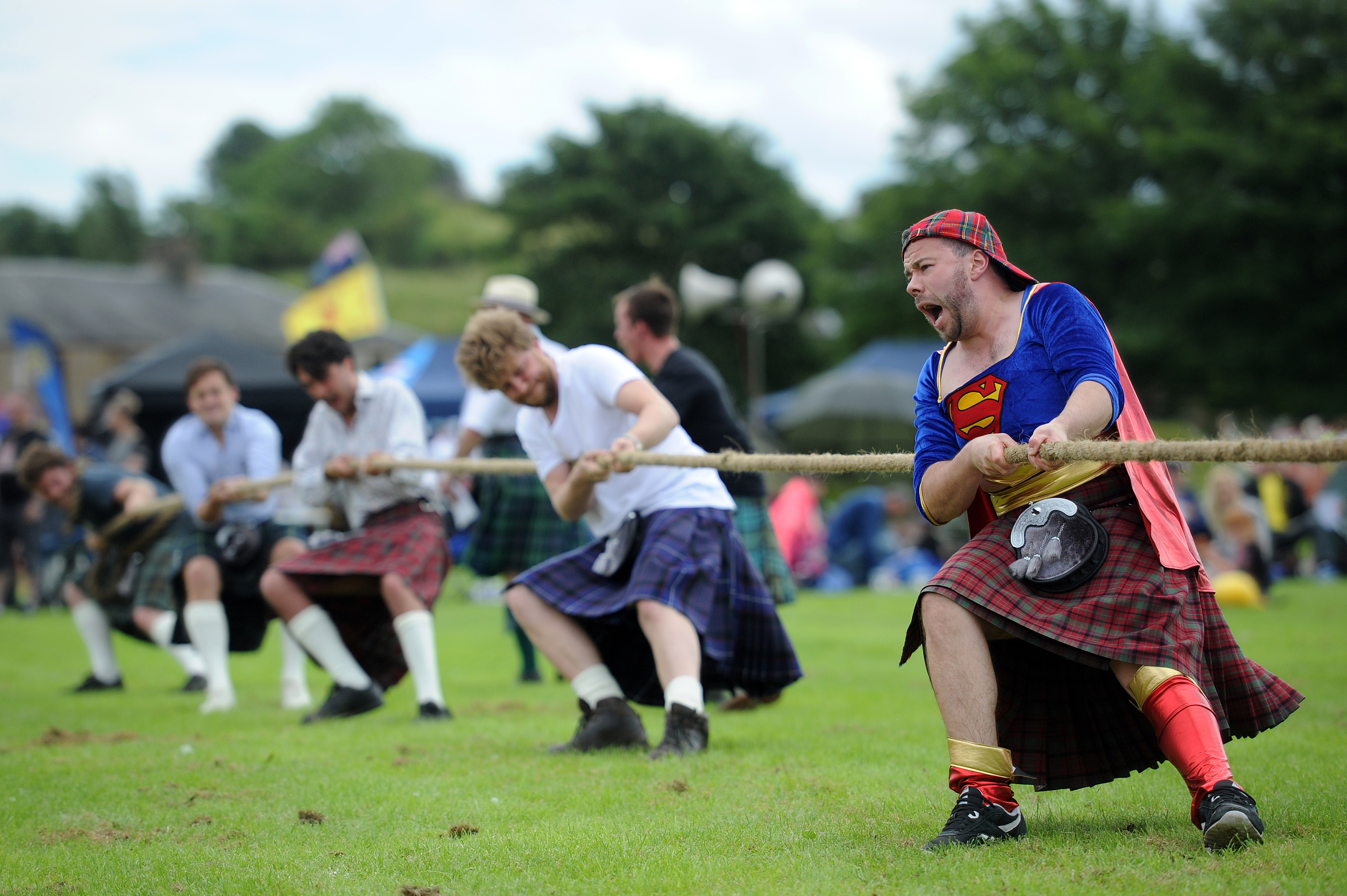 Competitors get into the spirit of the Tug O'War