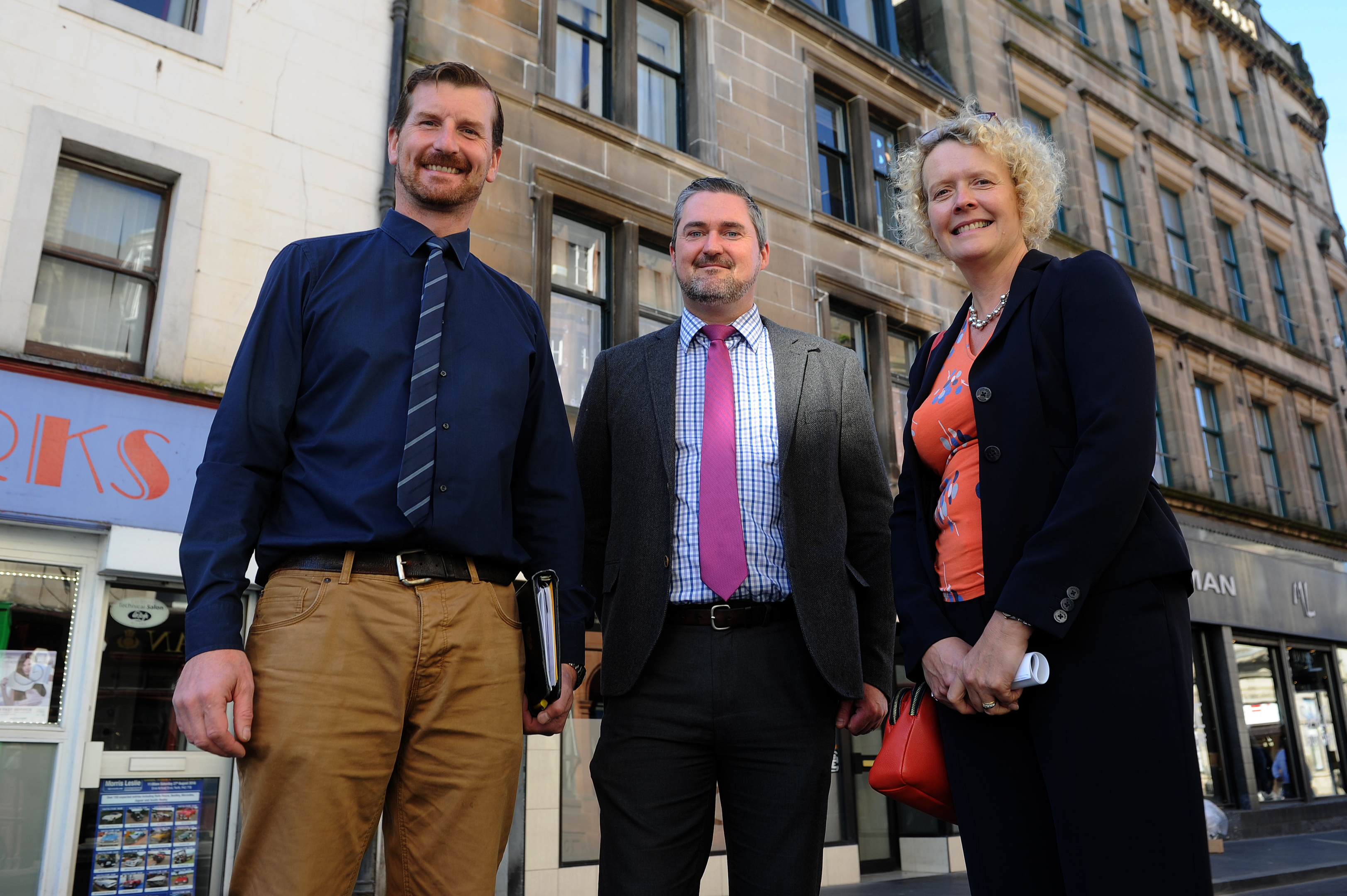 Councillor Dave Doogan, Martin Smith (Private Sector Access Manager) and Isobel Butt (Vacant Property Development Officer), High Street, Perth.