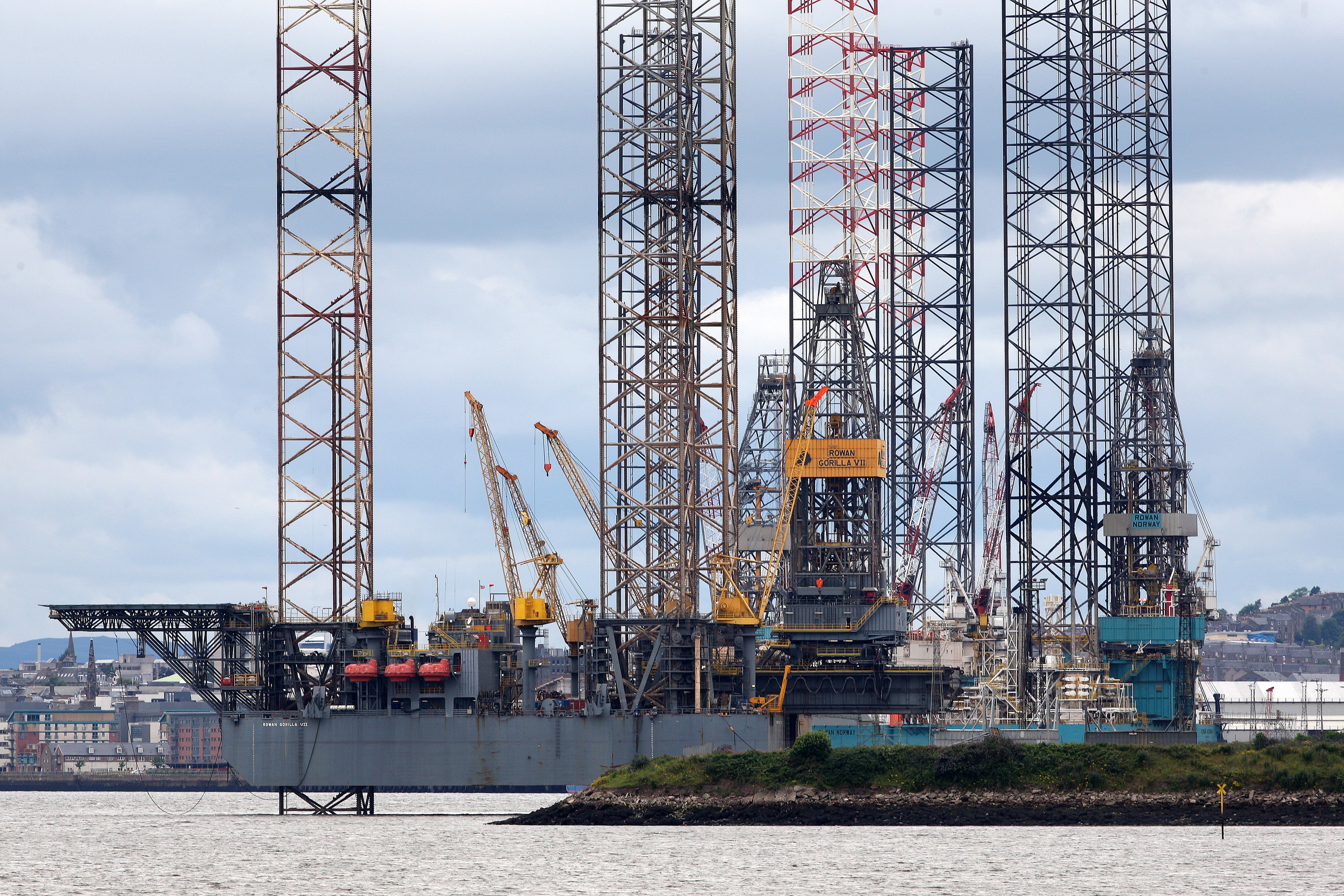 Oil rigs berthed in Dundee.