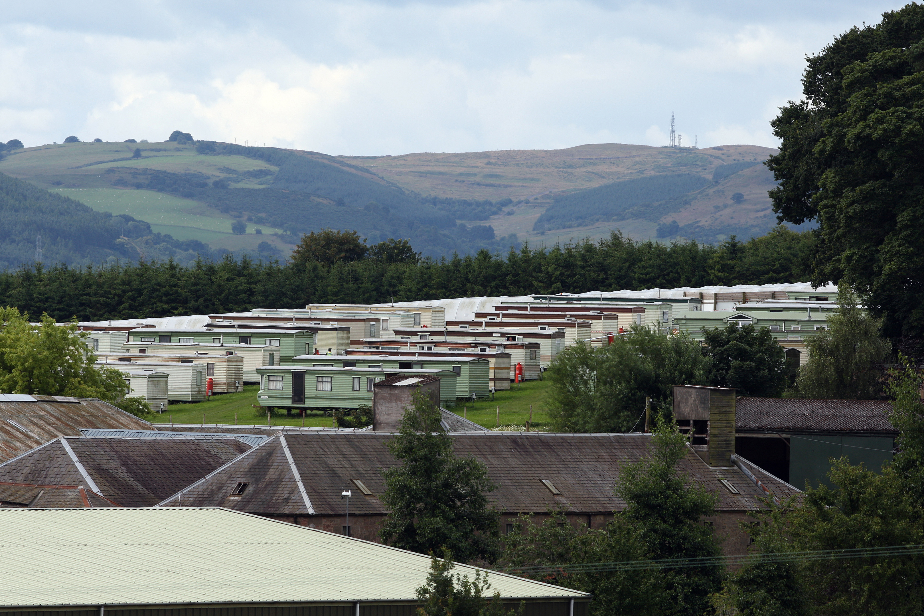 Around 200 migrant workers are housed in the caravans.