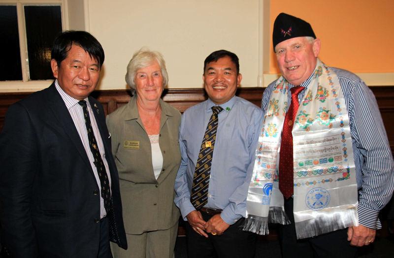 Siri Durung, Barbara  Lovegrove, Yuba Durung and Kirrie Rotary president George Aitken