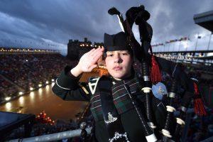 Lance Bombardier Megan Beveridge as the lone piper at the Royal Edinburgh Military Tattoo