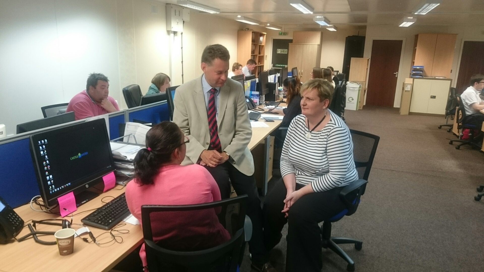 Murdo Fraser meets staff at Castle Water.