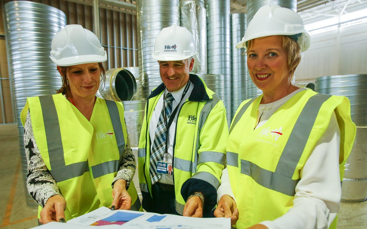 Heather Stuart, Steve Anderson, Building Services and Lesley Laird