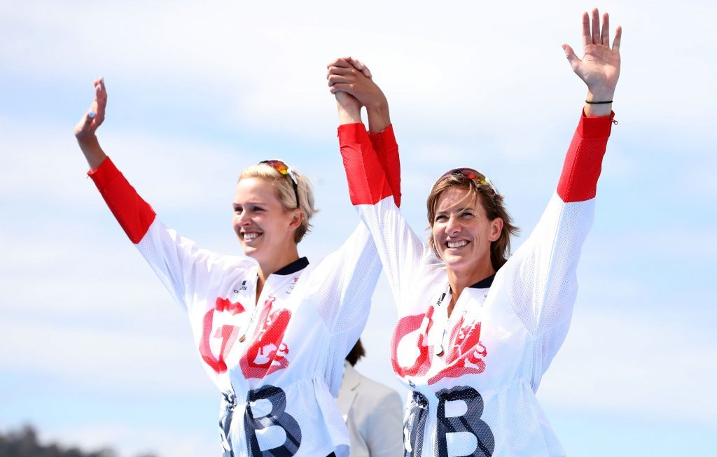 Great Britain's Katherine Grainger (right) and Victoria Thornley with their silver medals.