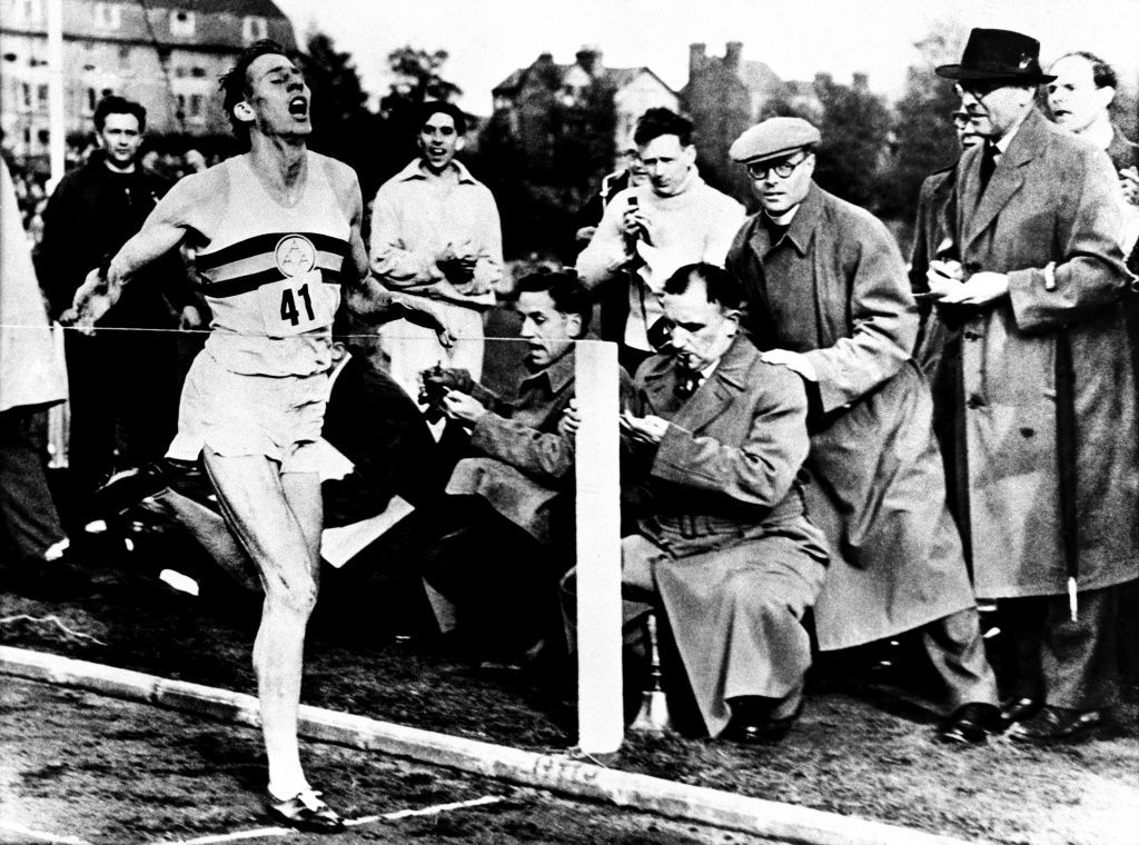 Sir Roger Bannister breaking the four minute mile.