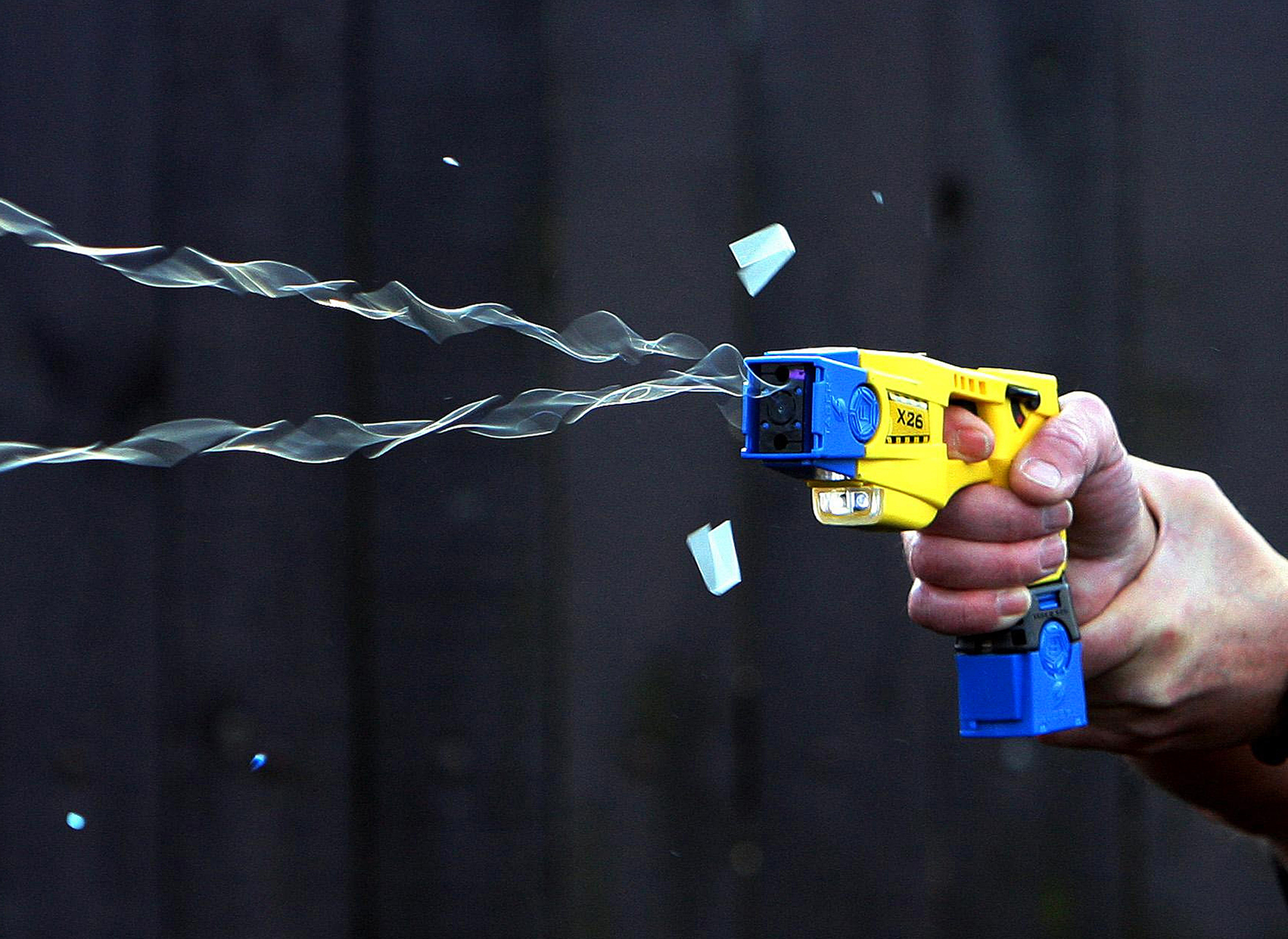A Taser being discharged.