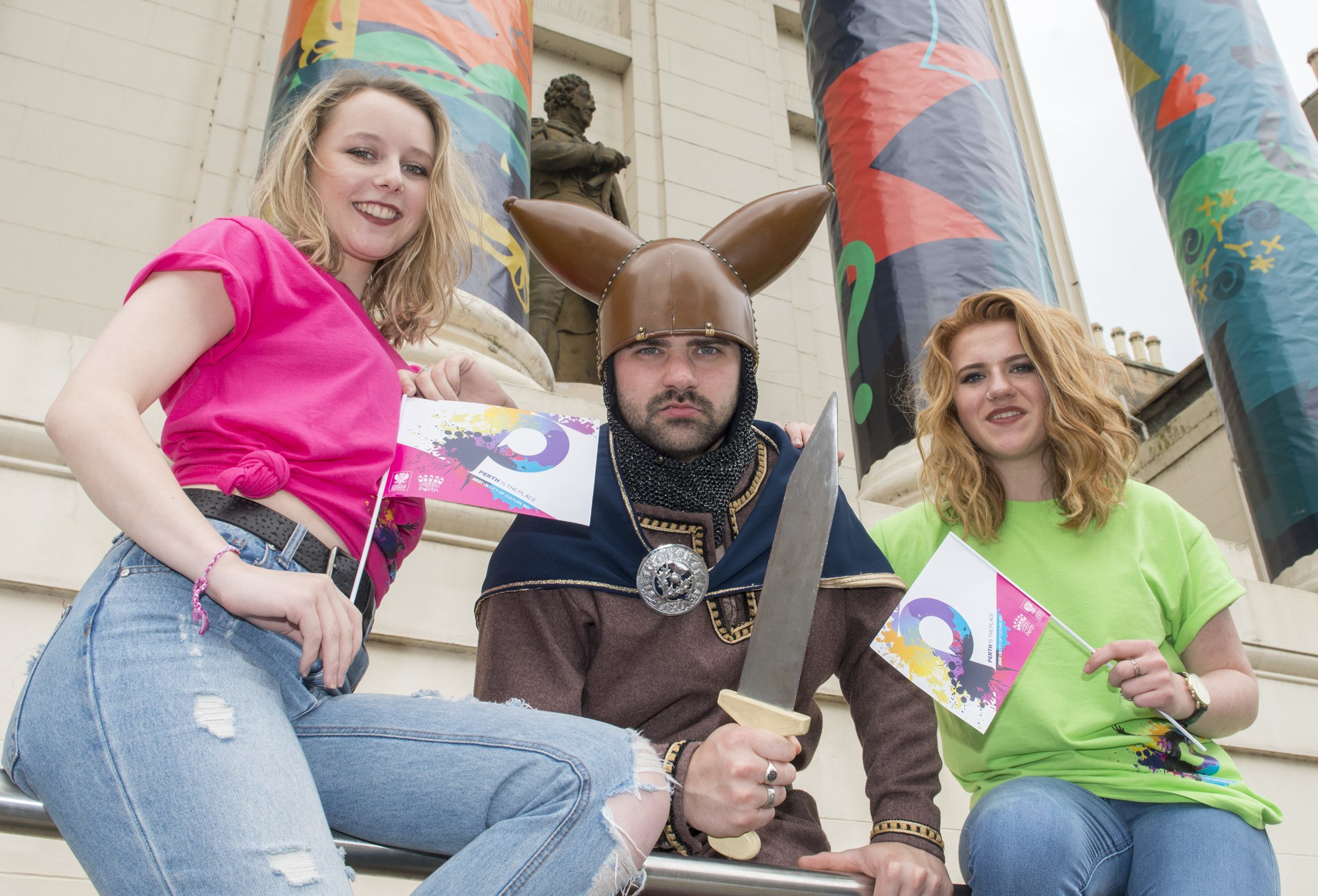 Perth's City of Culture launch King Kenneth McAlpine ,  aka Daniel White pictured with local supporters, Jodie Nicholson, right, Ailsa Wallace.