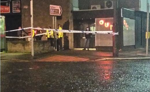 Police on St Andrews Street on Sunday.