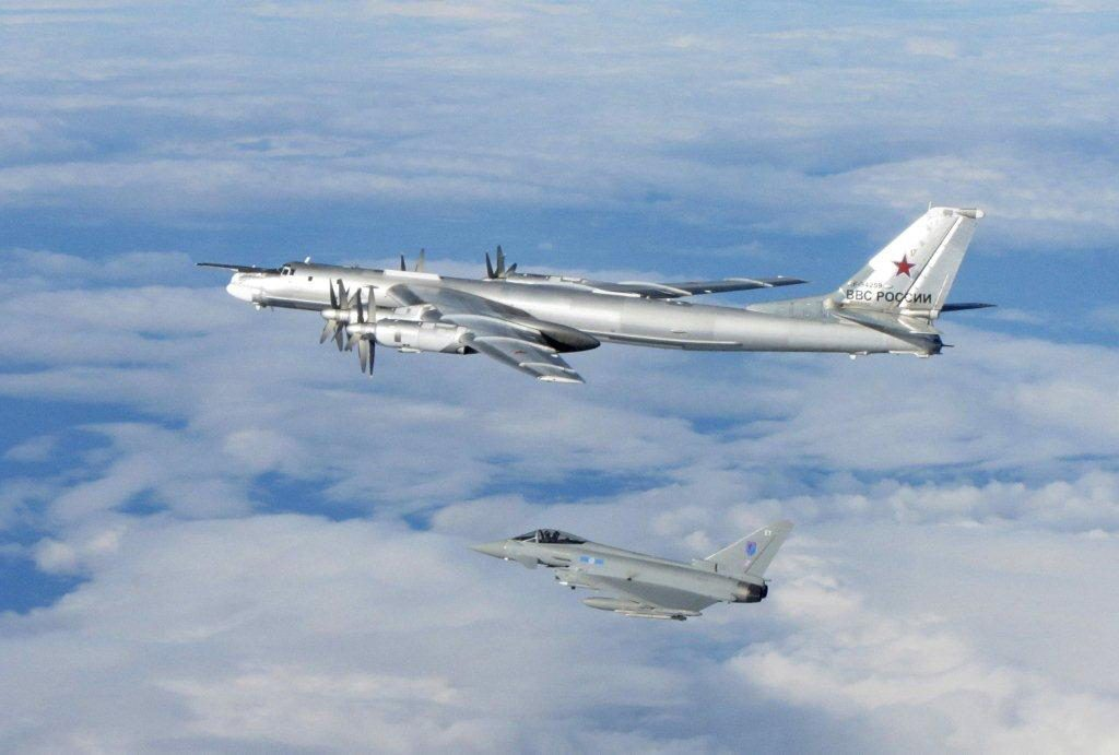 A Russian BEAR is escorted from UK airspace by a former RAF Leuchars jet