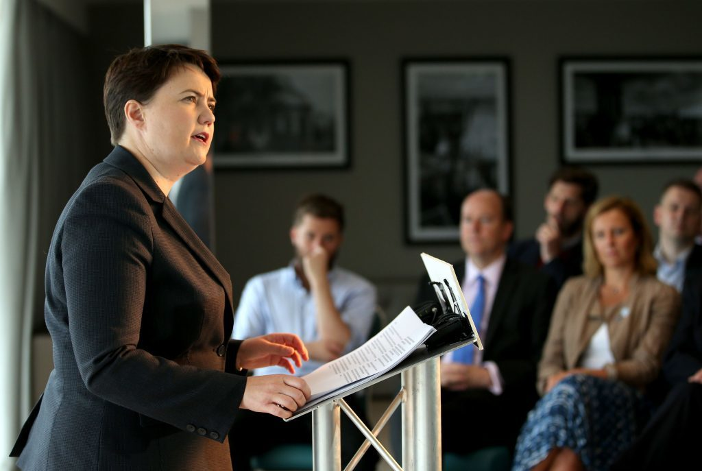 Scottish Conservative leader Ruth Davidson delivers a speech in Edinburgh.