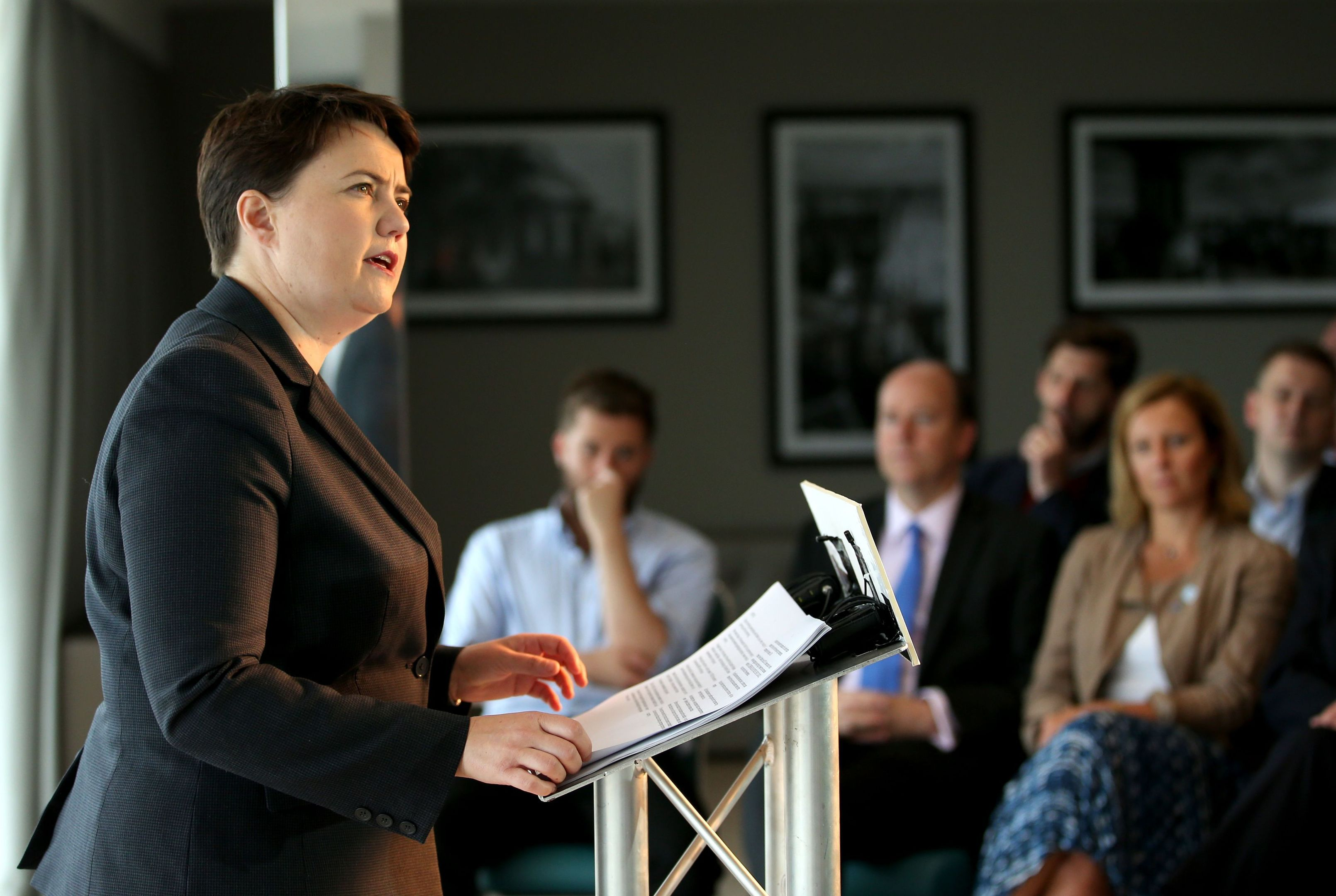 Scottish Conservative leader Ruth Davidson delivers a speech in Edinburgh.