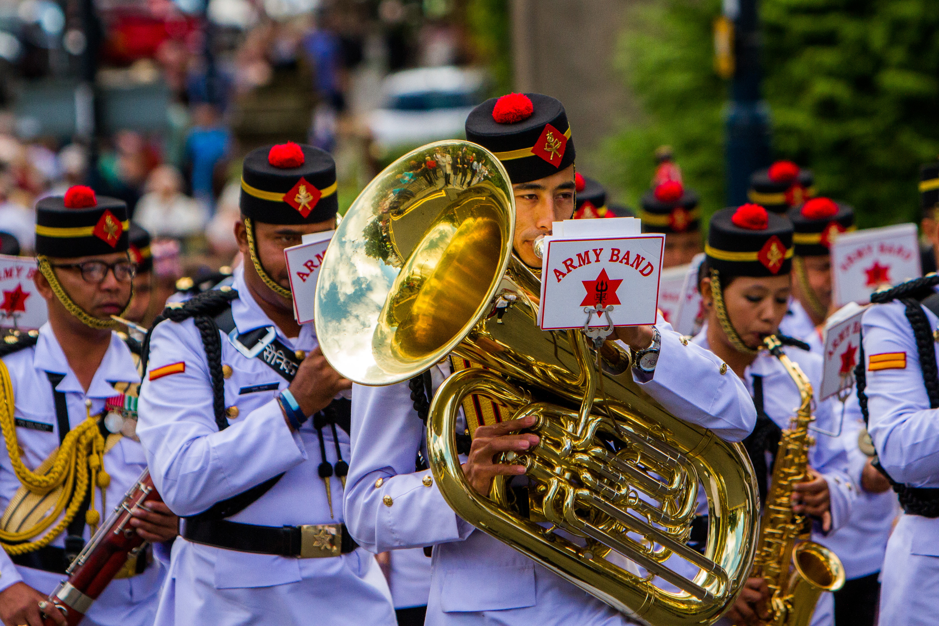 Nepal nepali Army Band during the parade.