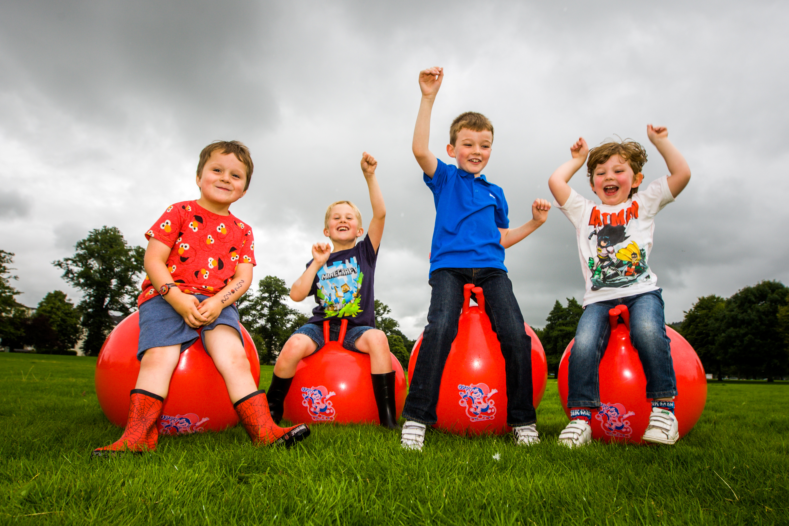 A hopping mad bunch - (left to right), Jamie McBride (aged 4), his brother Jack McBride (aged 8) alongside Sean Jamieson Braid (aged 8) and his brother Owen Jamieson Braid (aged 4).