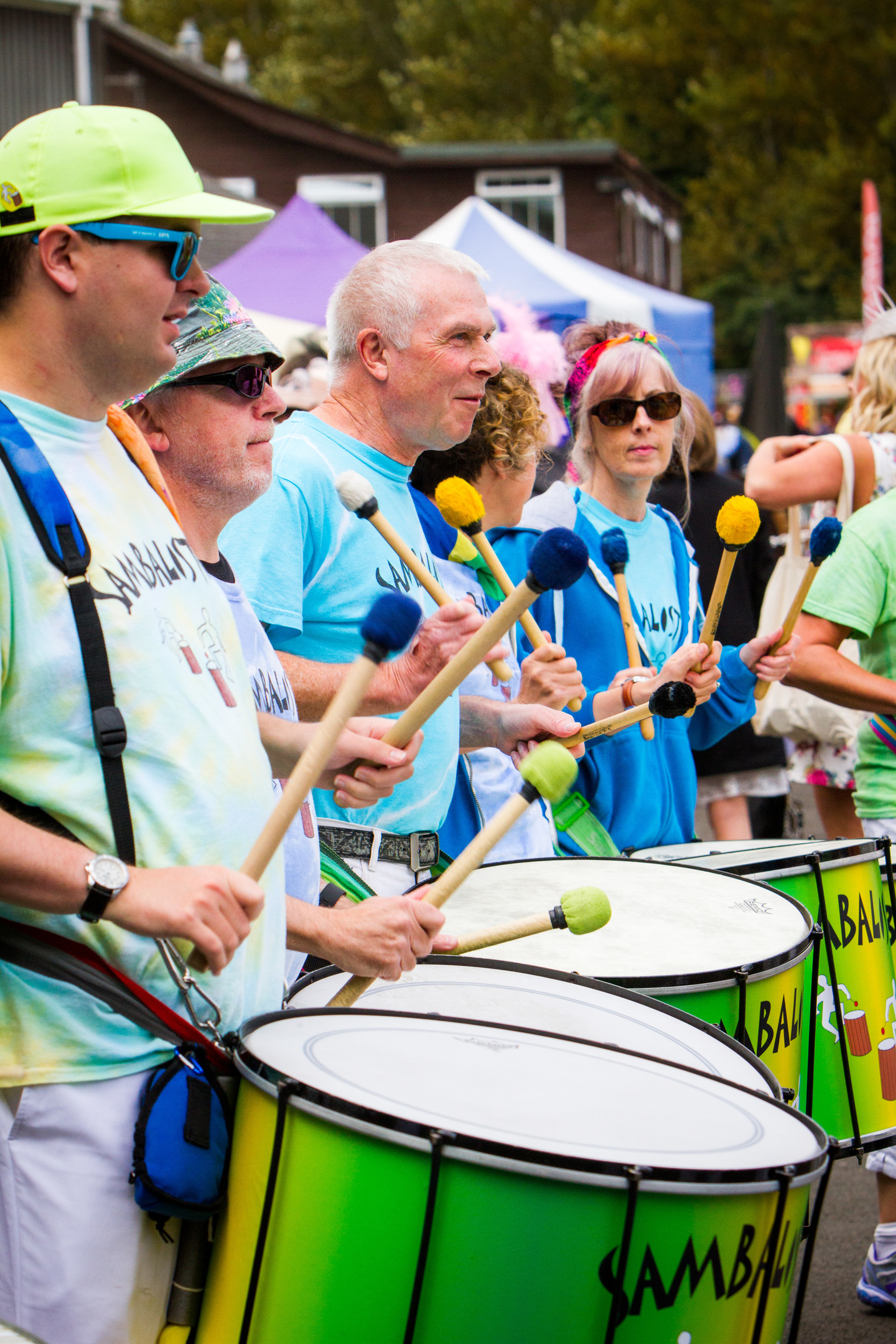 Courier News - Perth - Jamie Buchan Story. Spirit of Rio event as Carnival Raceday hits the Racecourse in Perth featuring music, dancing and racing. Picture shows performance by samba Band 'Sambalistic'. Perth Racecourse, off Isla Road, Perth. Saturday 20th August 2016.