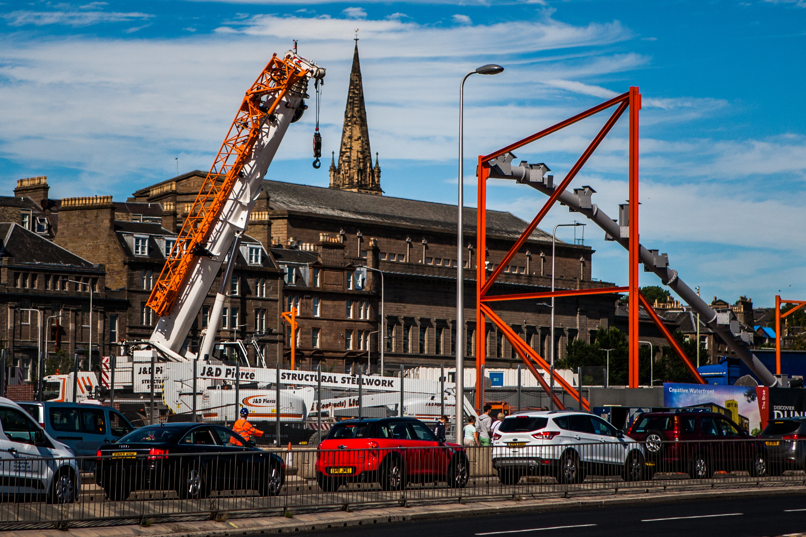 The new station's steelwork starts to emerge.