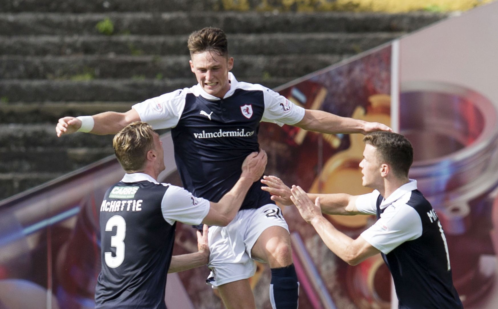 Jordan Thompson, centre, celebrates his goal against Dundee United last weekend.