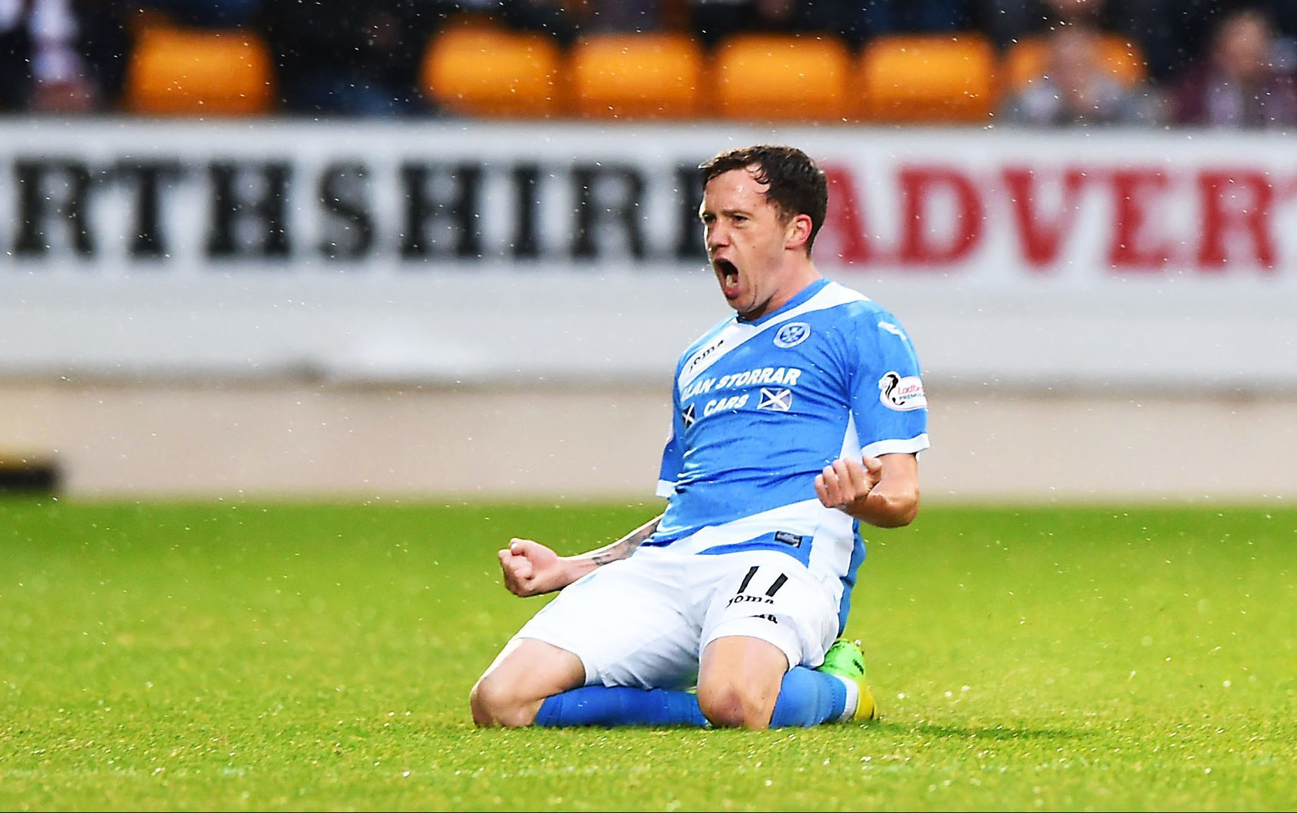 St Johnstone's Danny Swanson celebrates after he scores his side's opener.