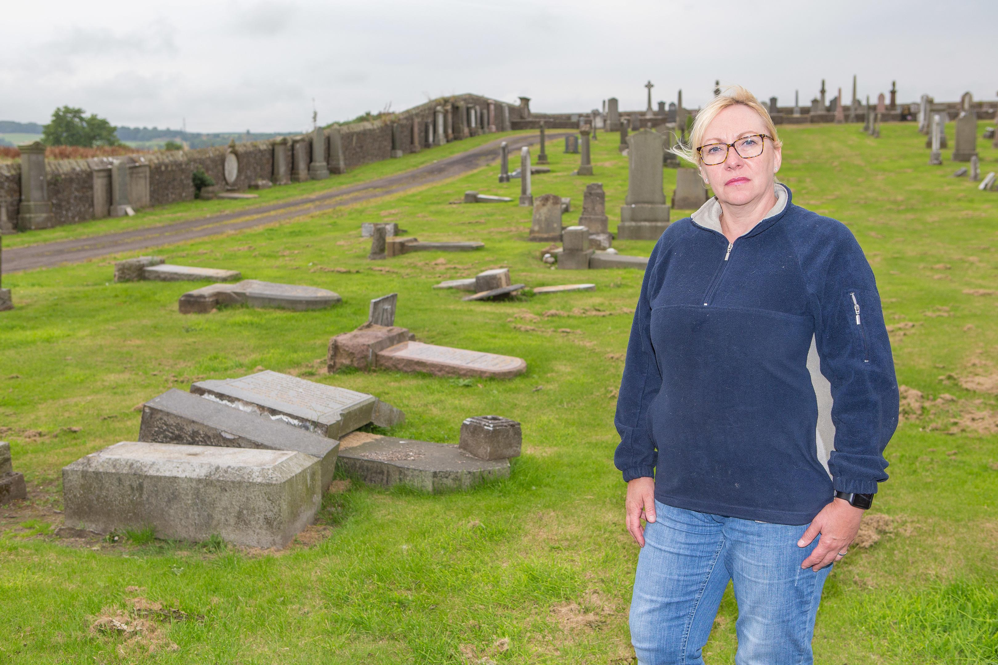 Leslie Community Council chairwoman Jan Wincott at Leslie Cemetery.