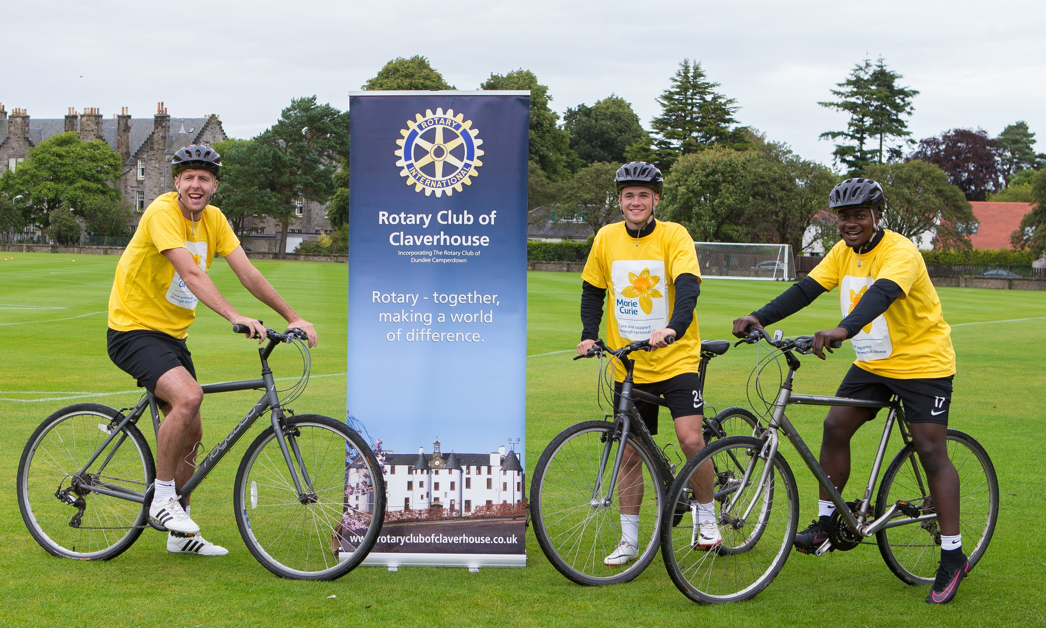 Lewis Toshney, Jamie Robson and Justin Johnson are backing Dundee Cyclathon.