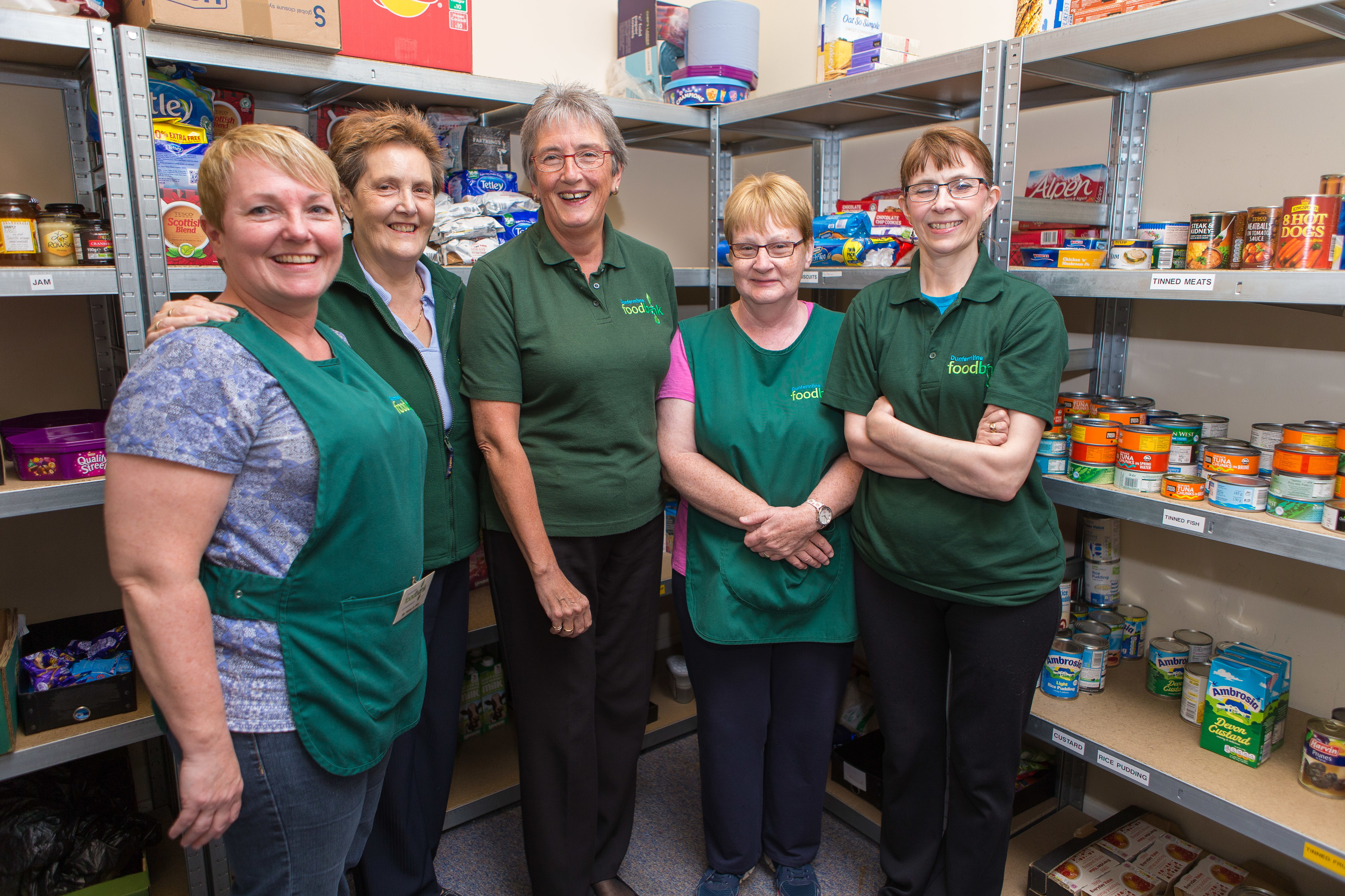 Volunteers at Dunfermline Foodbank's Cowdenbeath branch.  From left - Amy Sinclair, Liz Miller, Janet Gibson, Margaret Richardson and Judy Haddow.