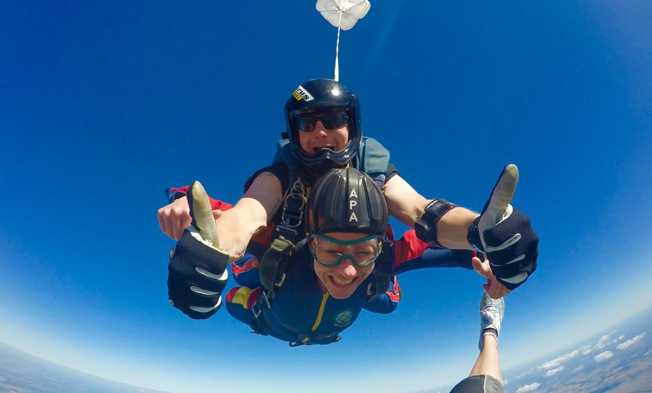 Lizzie Alexander was among those doing the #SkydiveForDave challenge.