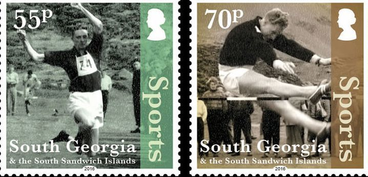 The stamps show Johns photos of sporting events.